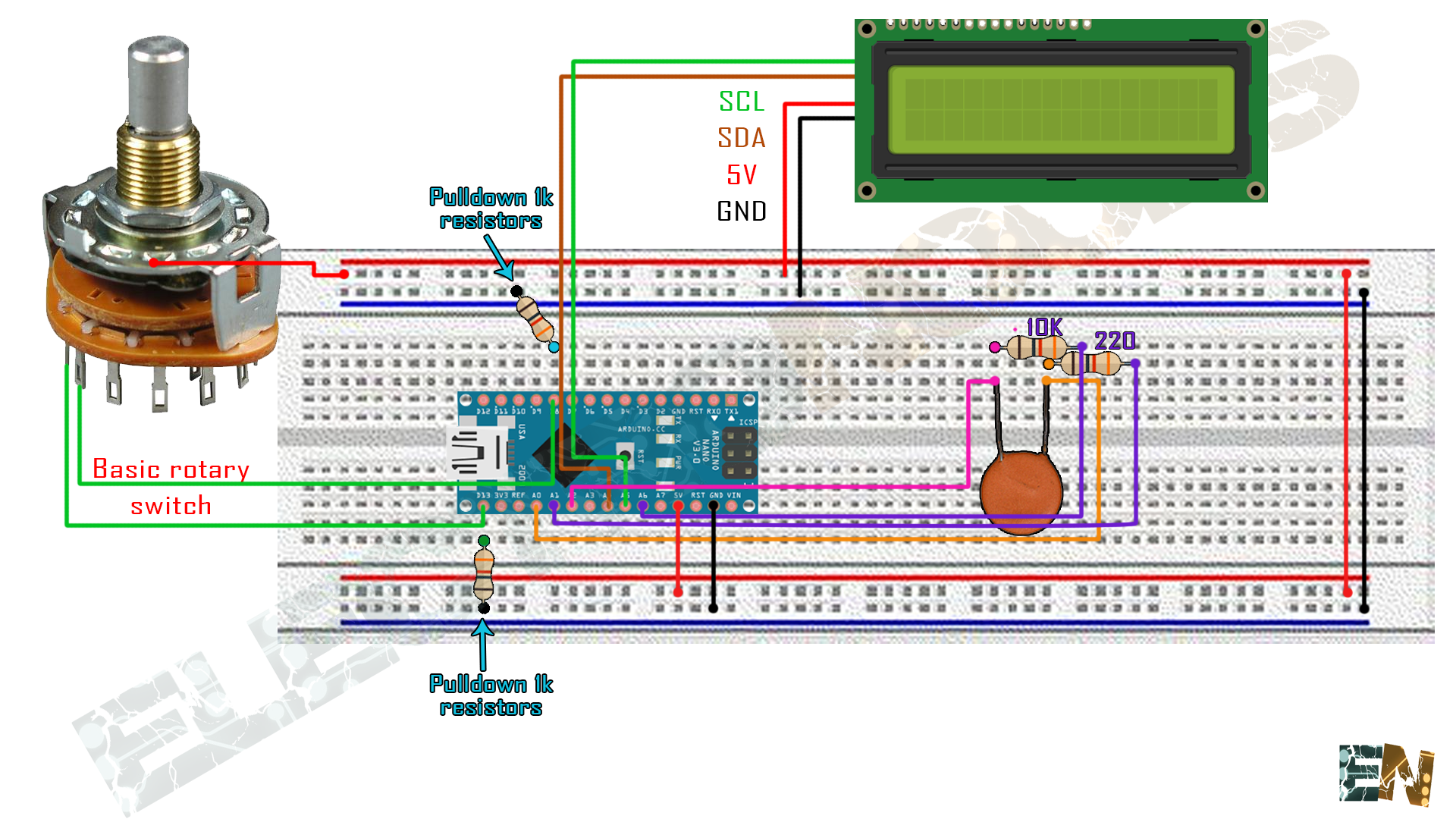 How To Make A Capacitance Meter Using Arduino Capacitor Charging And Discharging Circuit So For The High Values Range We Will Use Pins A1 Violet A6violet Charge Discharge Analog Pin A0orange Measure