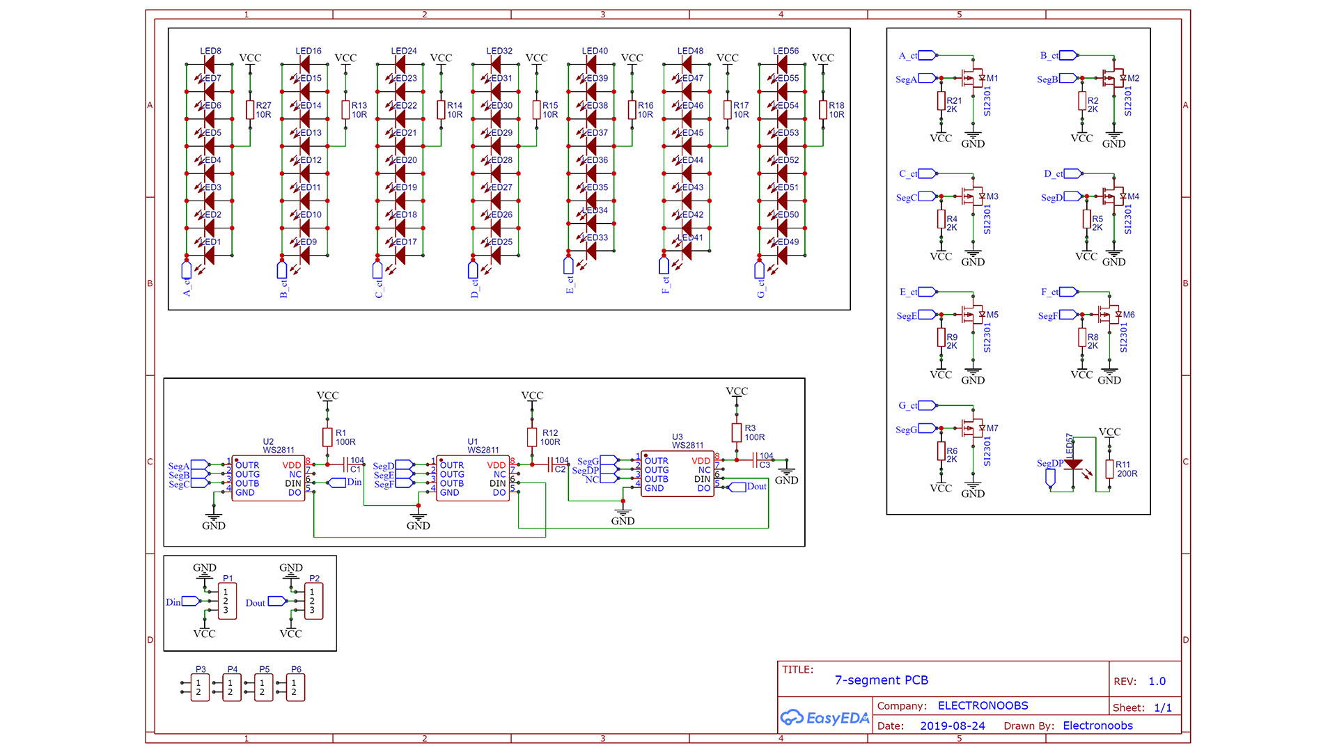 Arduino schematic 7 segment display DIY big LED