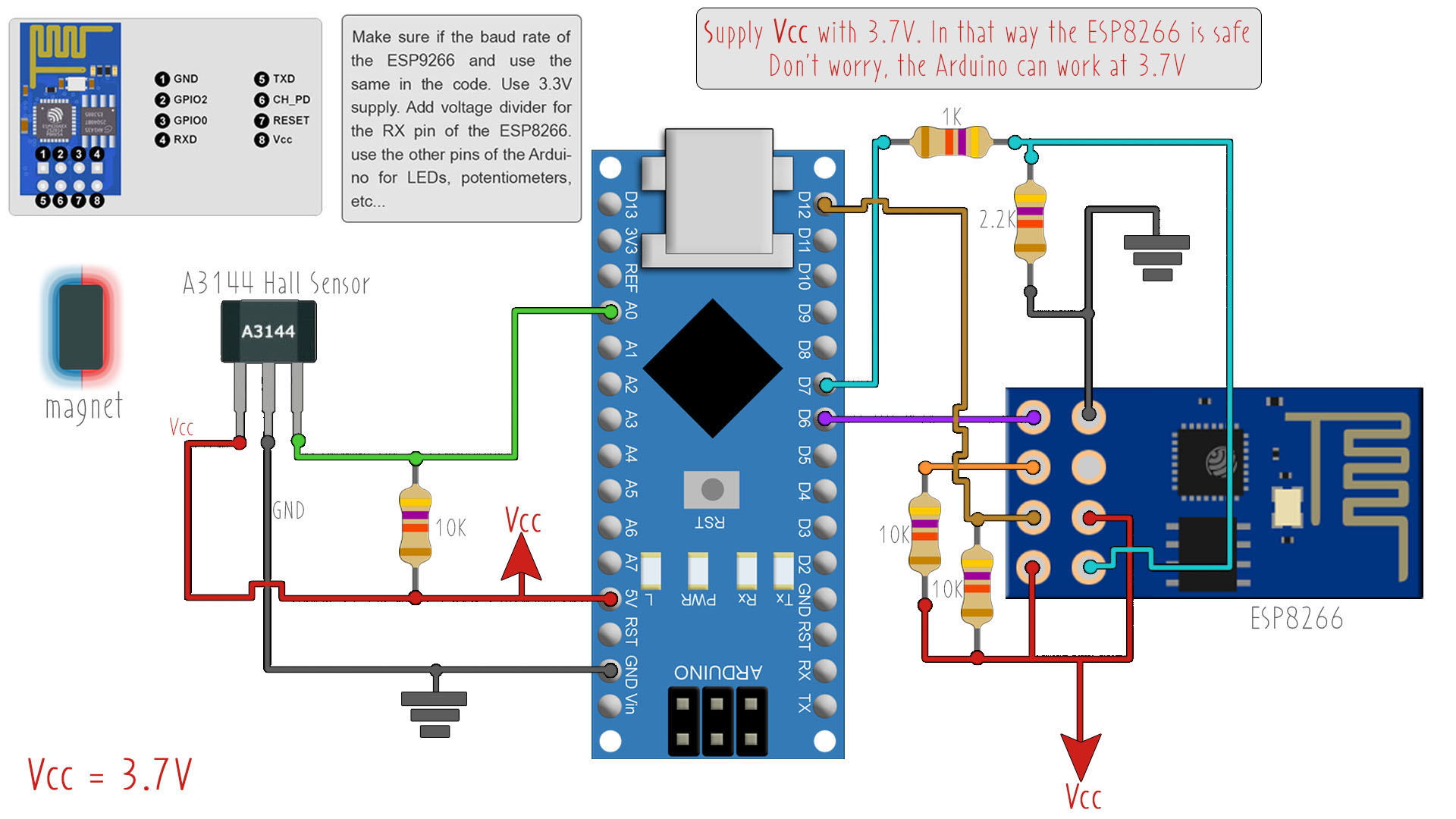 Arduino schematic ESP8266 mail notification