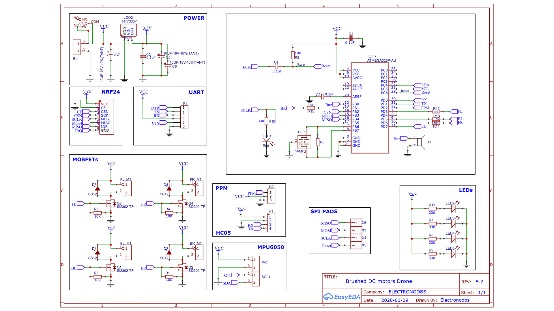 Arduino schematic brushed drone PCB