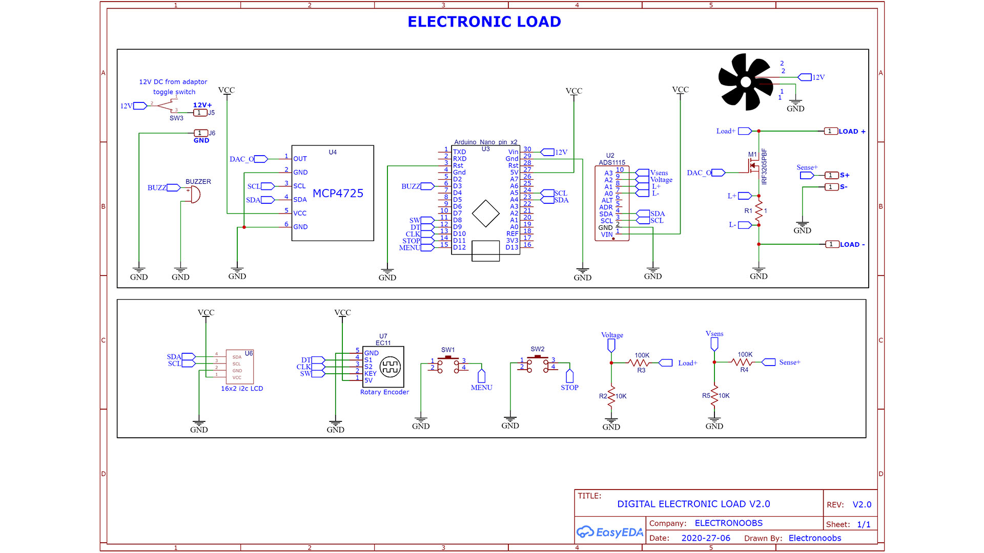 Schematic homemade electronic load with arduino
