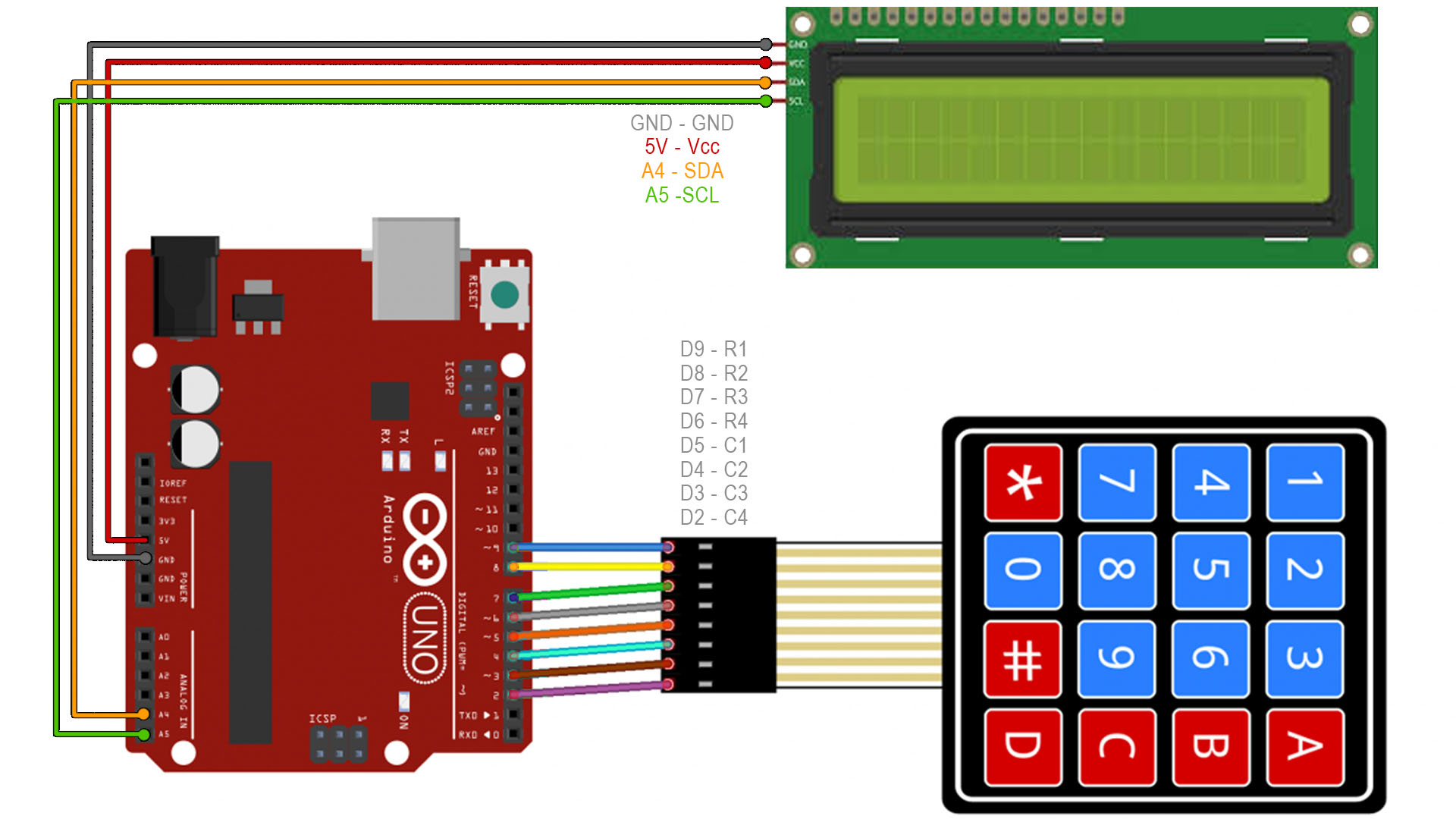 Arduino keypad schematic connections