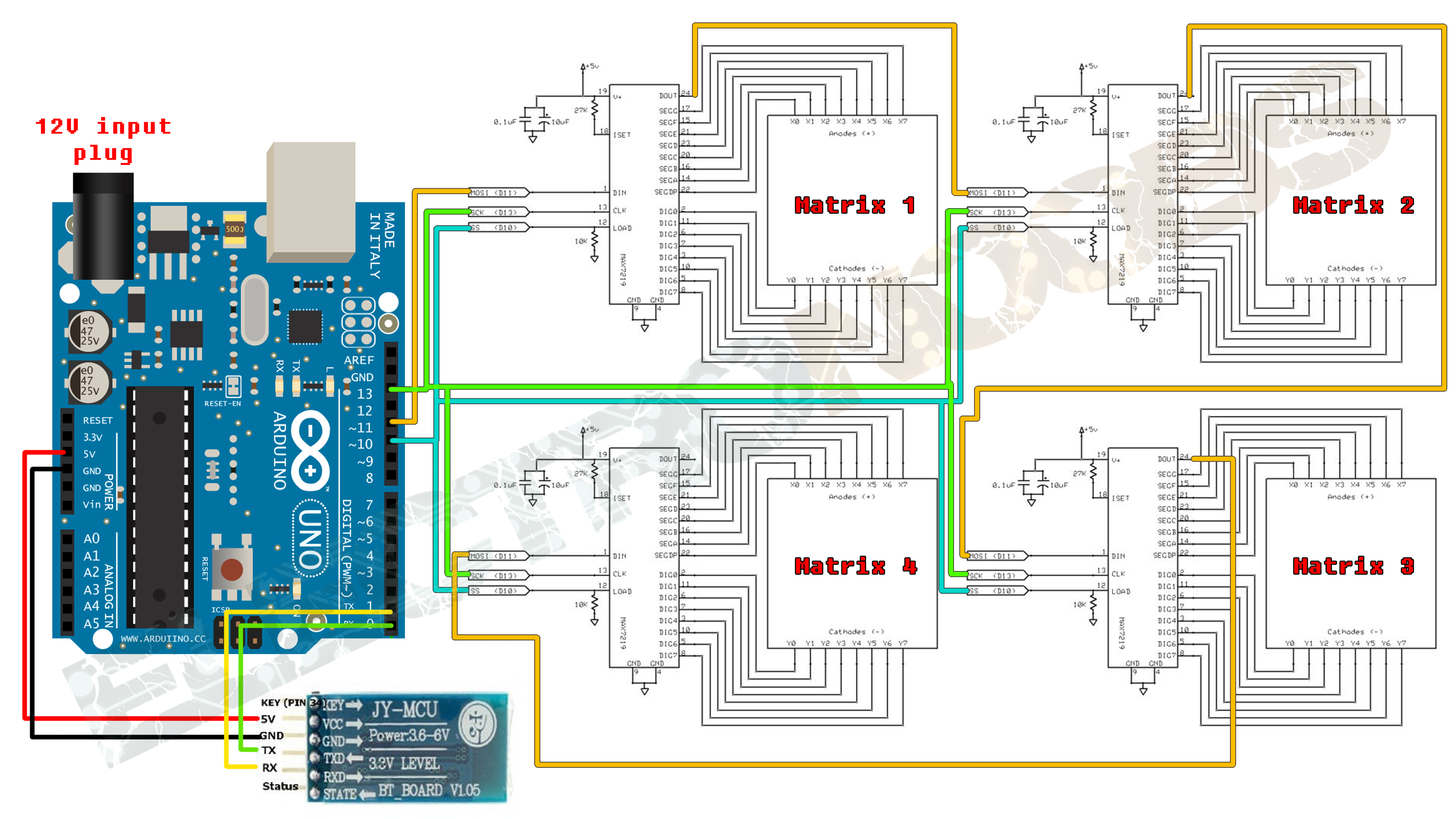 Arduino Bluetooth Led Matrix Max7219 Controlled Home Electronic Appliances Block Diagram