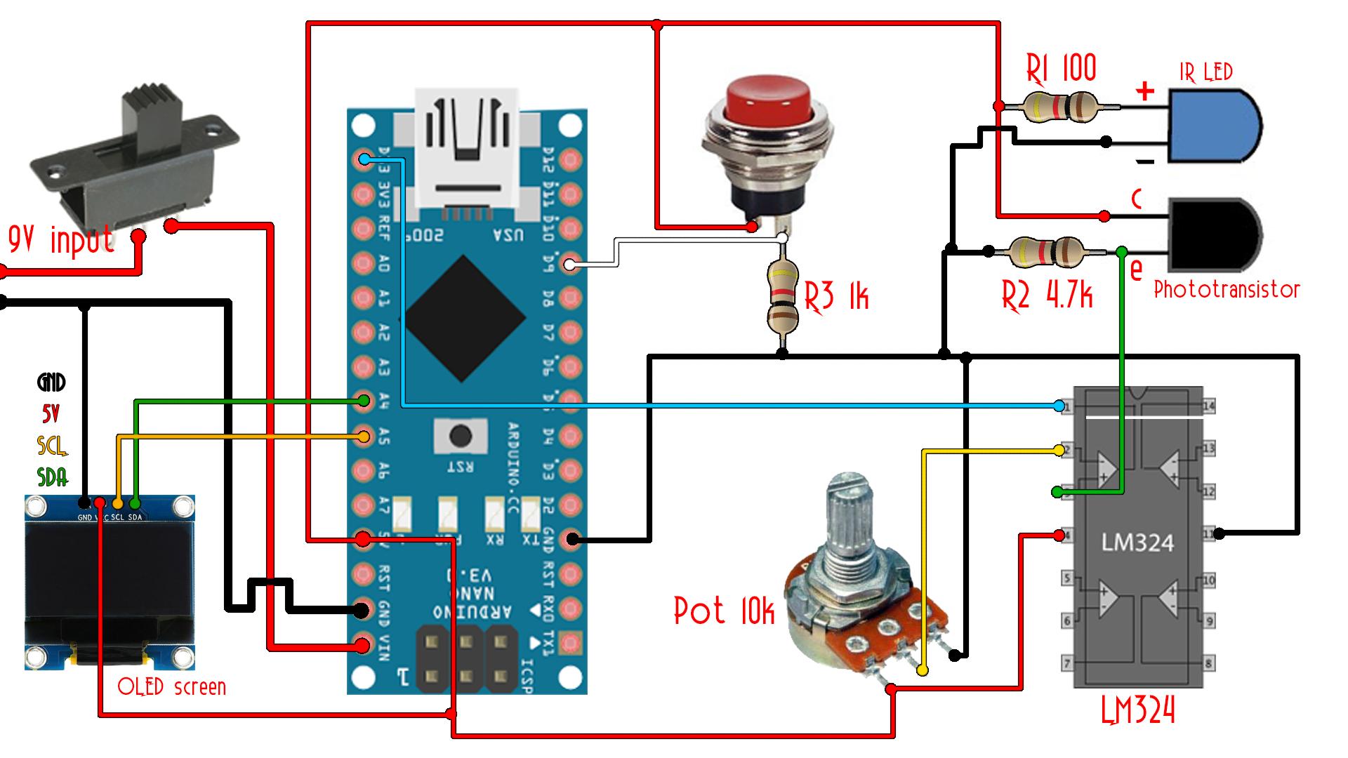 arduino RPM tachometer meter circuit
