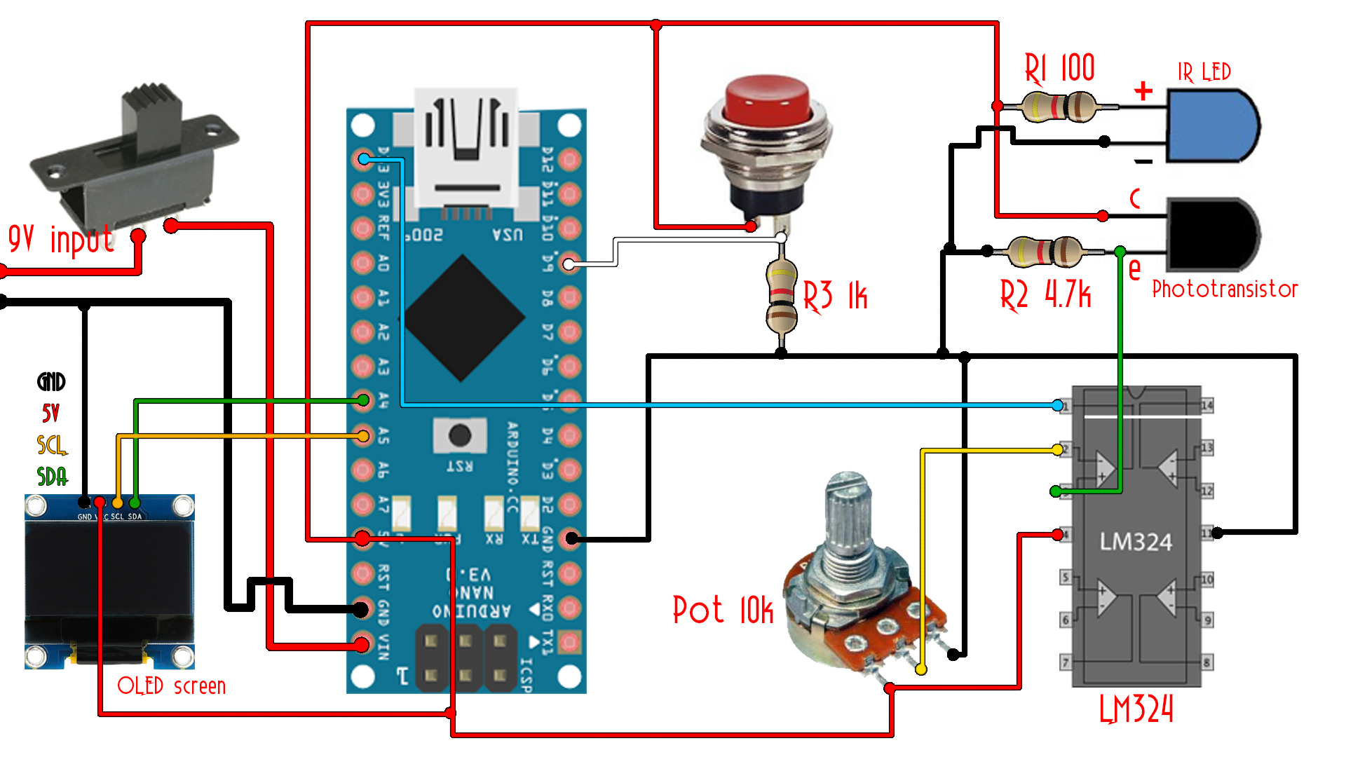 Rpm Indicator Circuit Diagram And Schematics Analog Phase Detector Measuringandtestcircuit Arduino Tachometer Ir Sensor Meter Printed