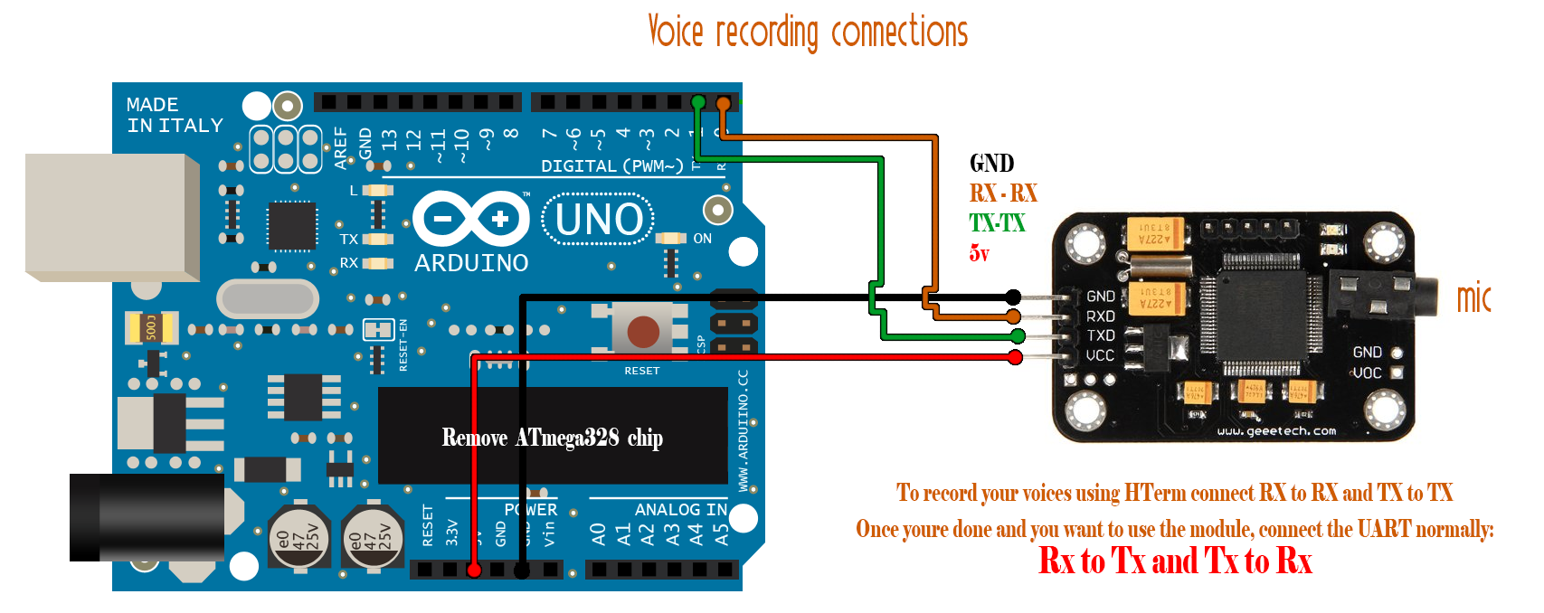 geeetech voice recognition module commands