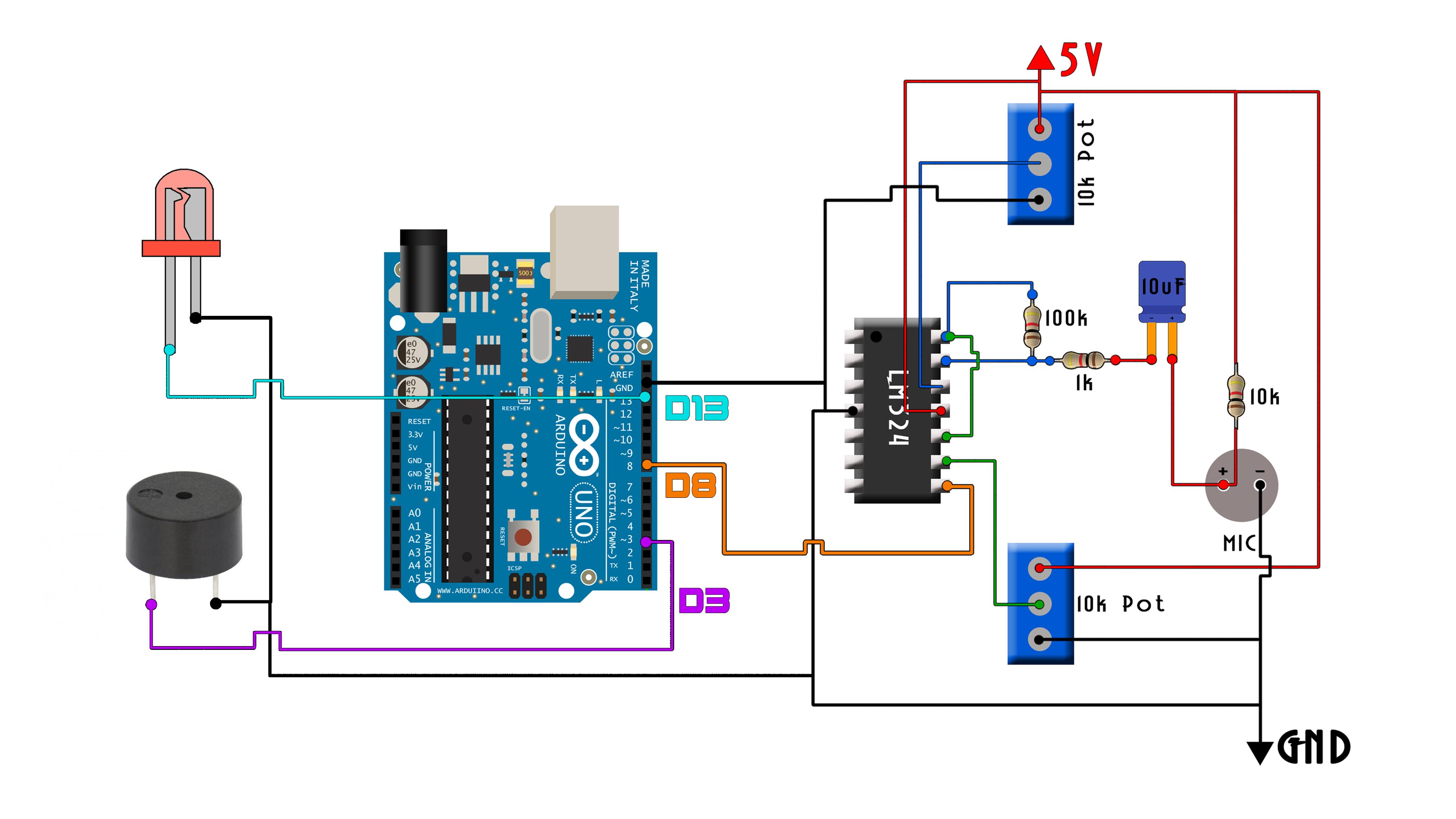 Code whistle LED siwtch arduino
