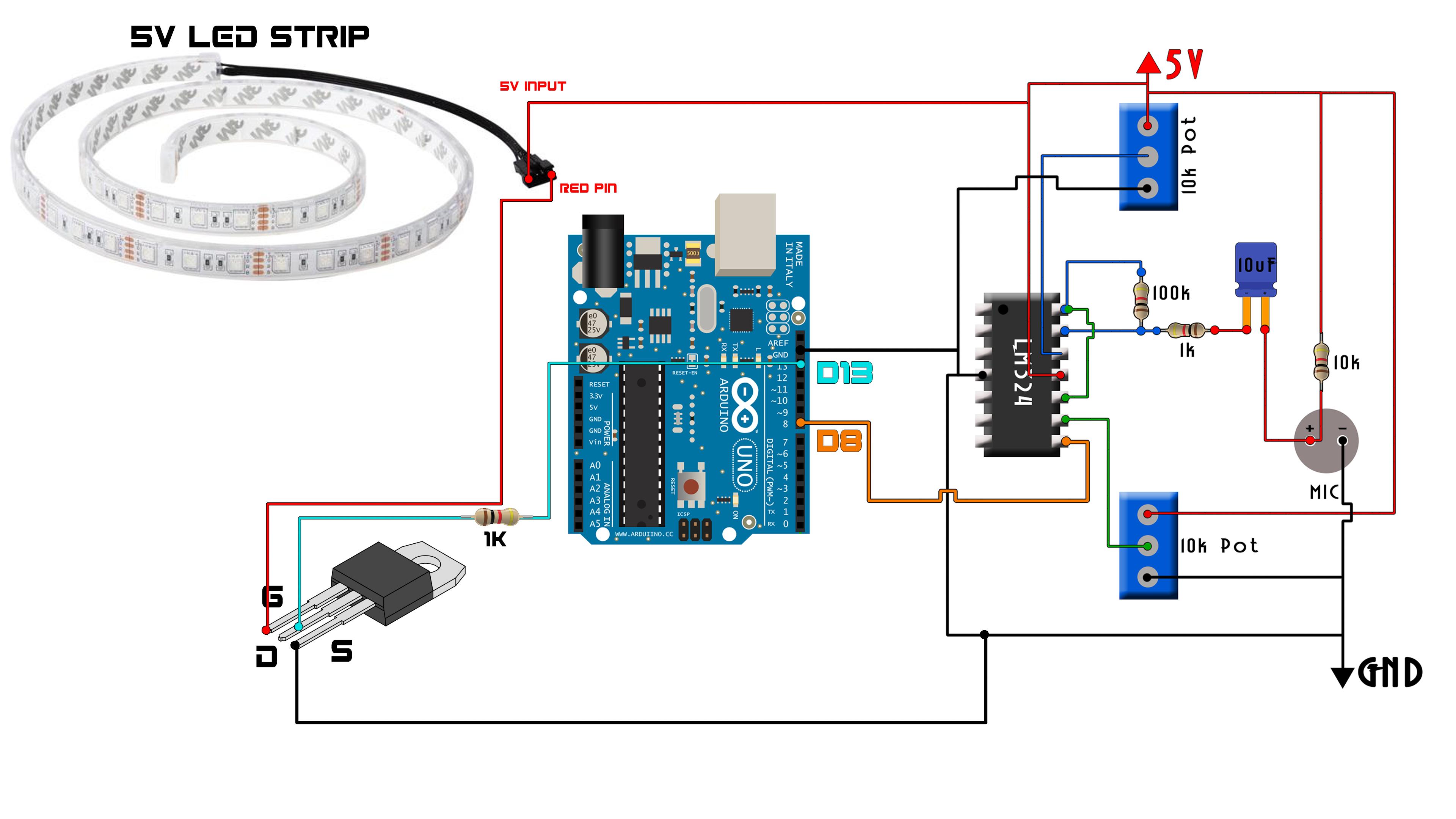 Code whistle LED strip siwtch arduino