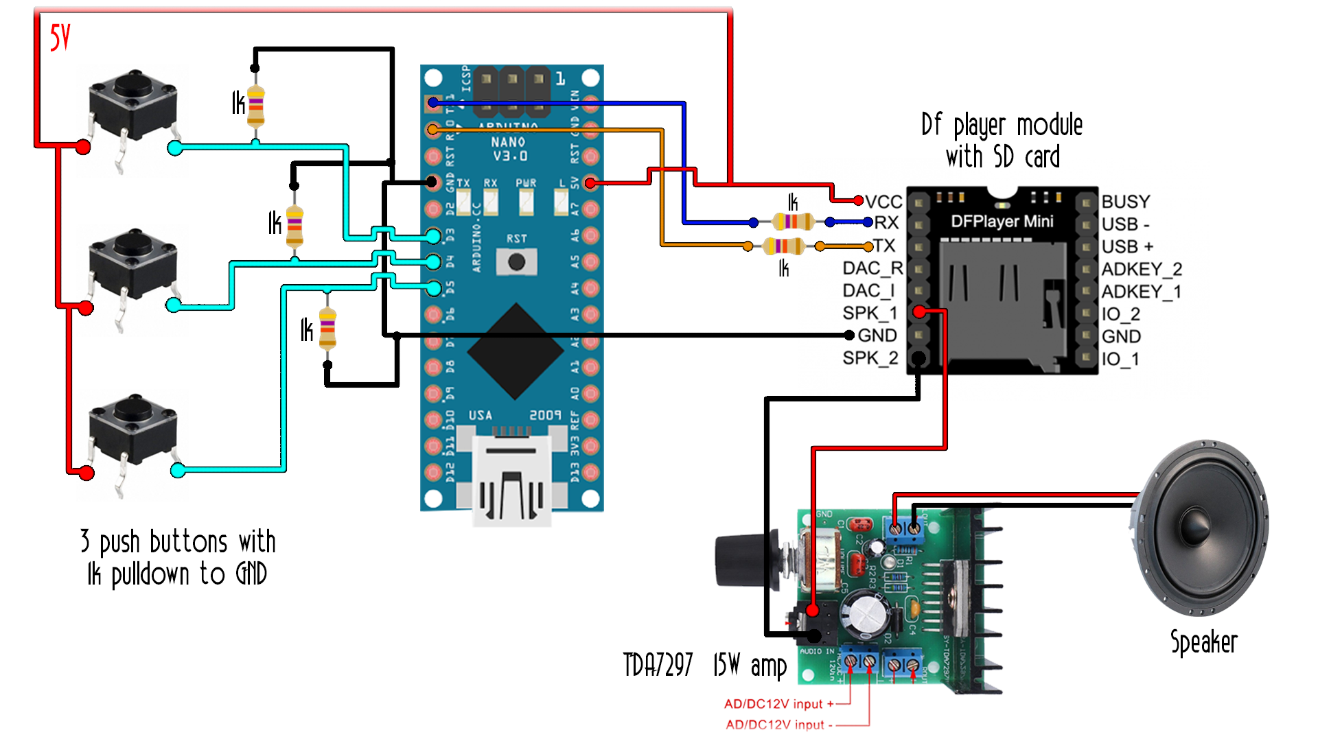 I2c Lcd Arduino Library Tutorial How To Build A Rotary Encoder Circuit With An Dfplayer