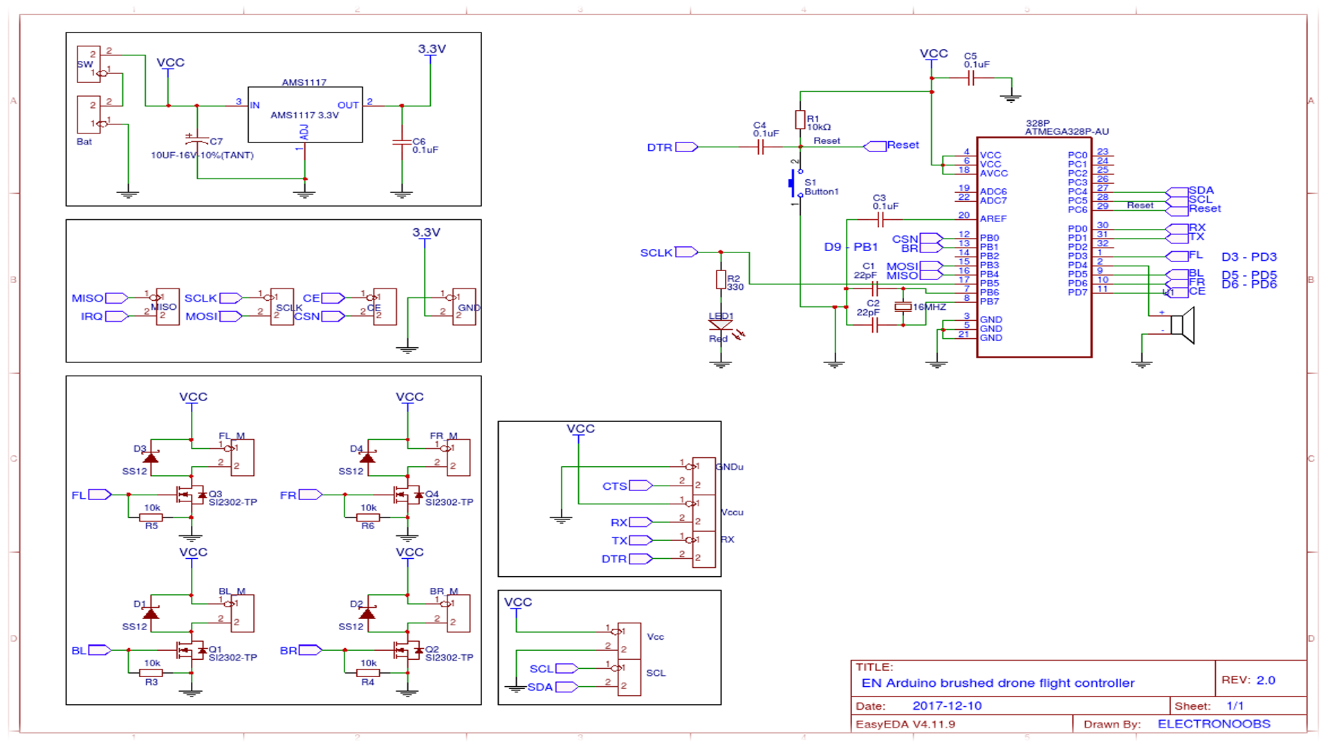 Brushed drone arduino schematic nano pro mini