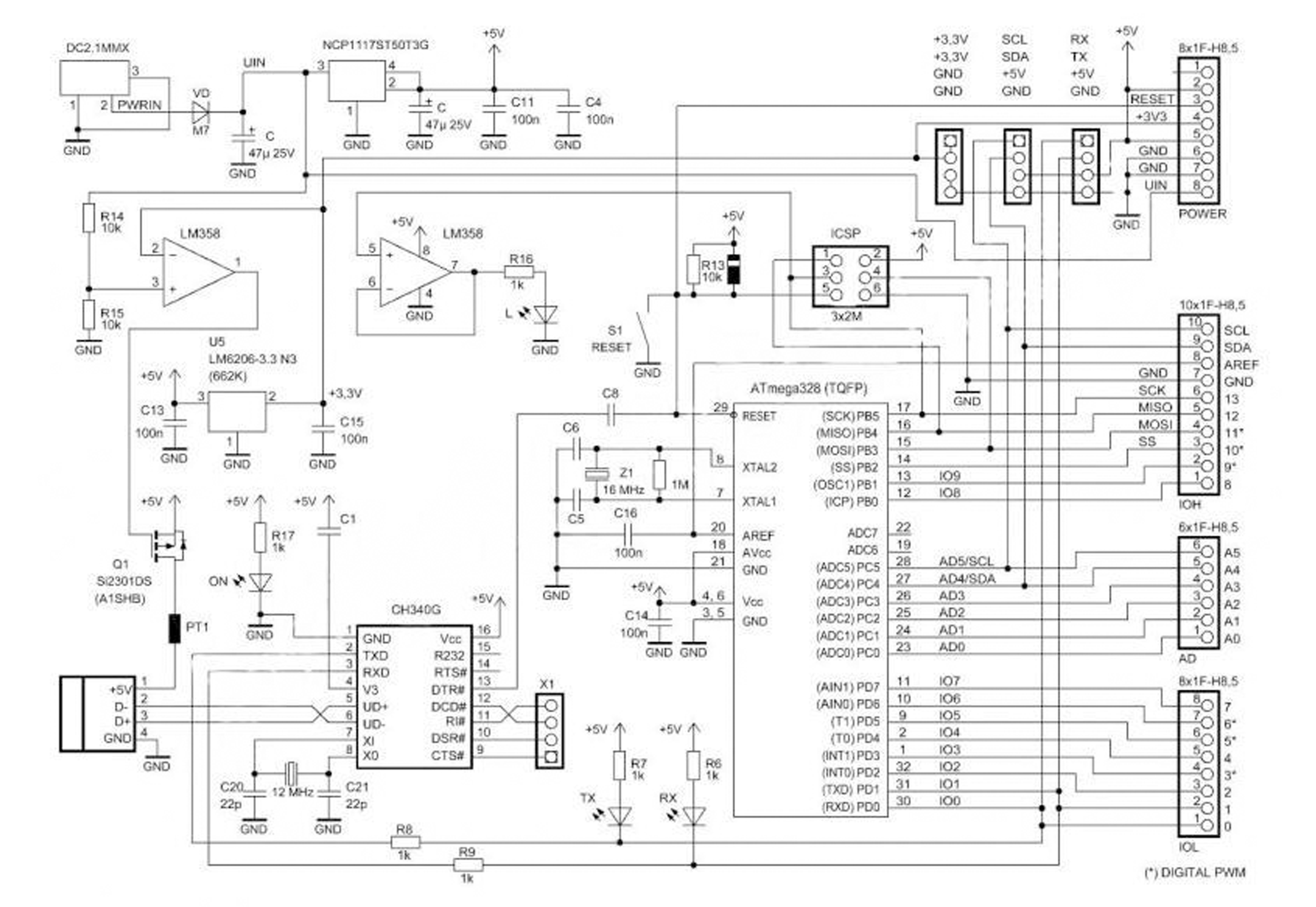Arduino Uno R3 schematic CH340 on