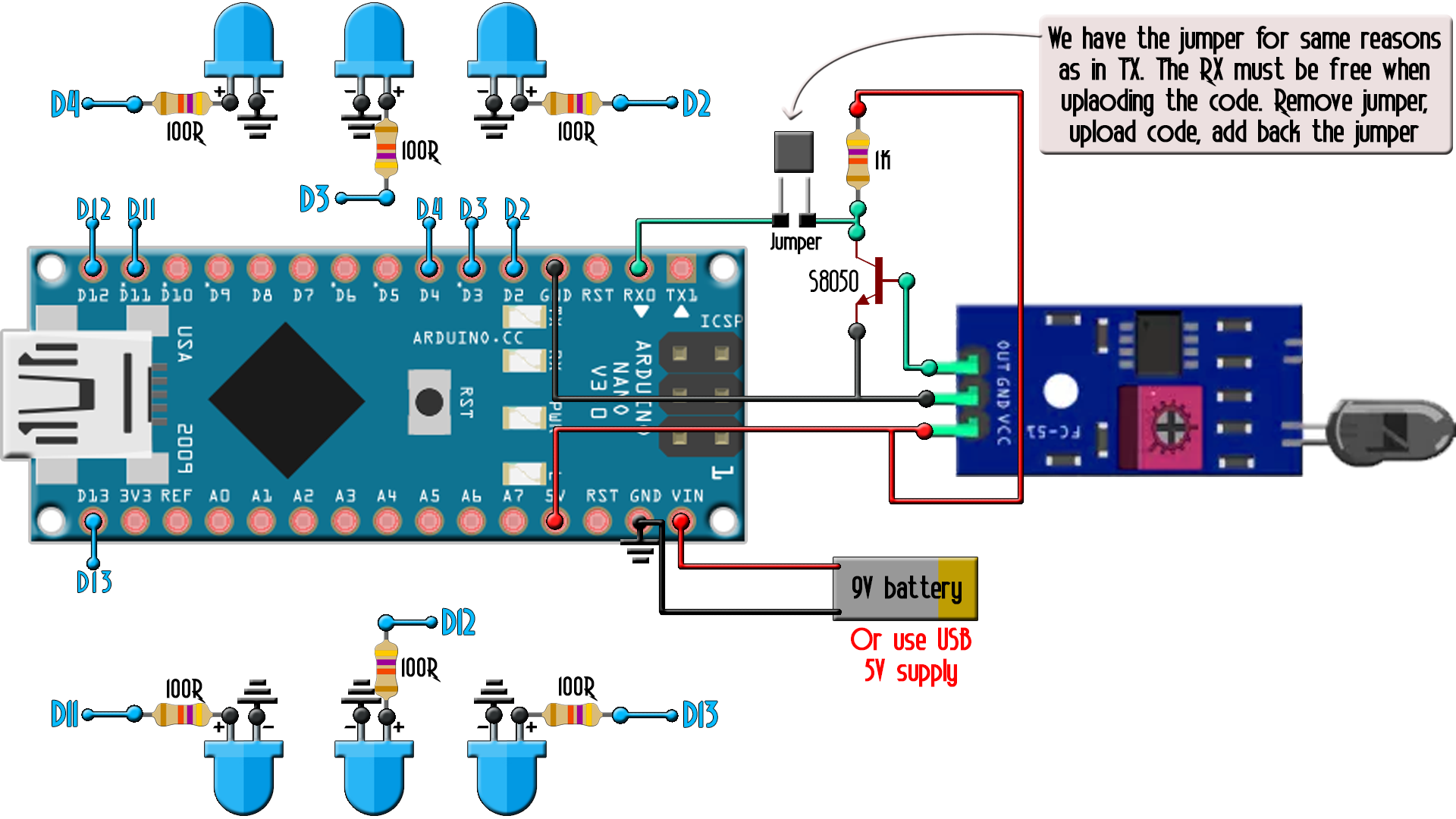 Arduino IR remote schematic DIY