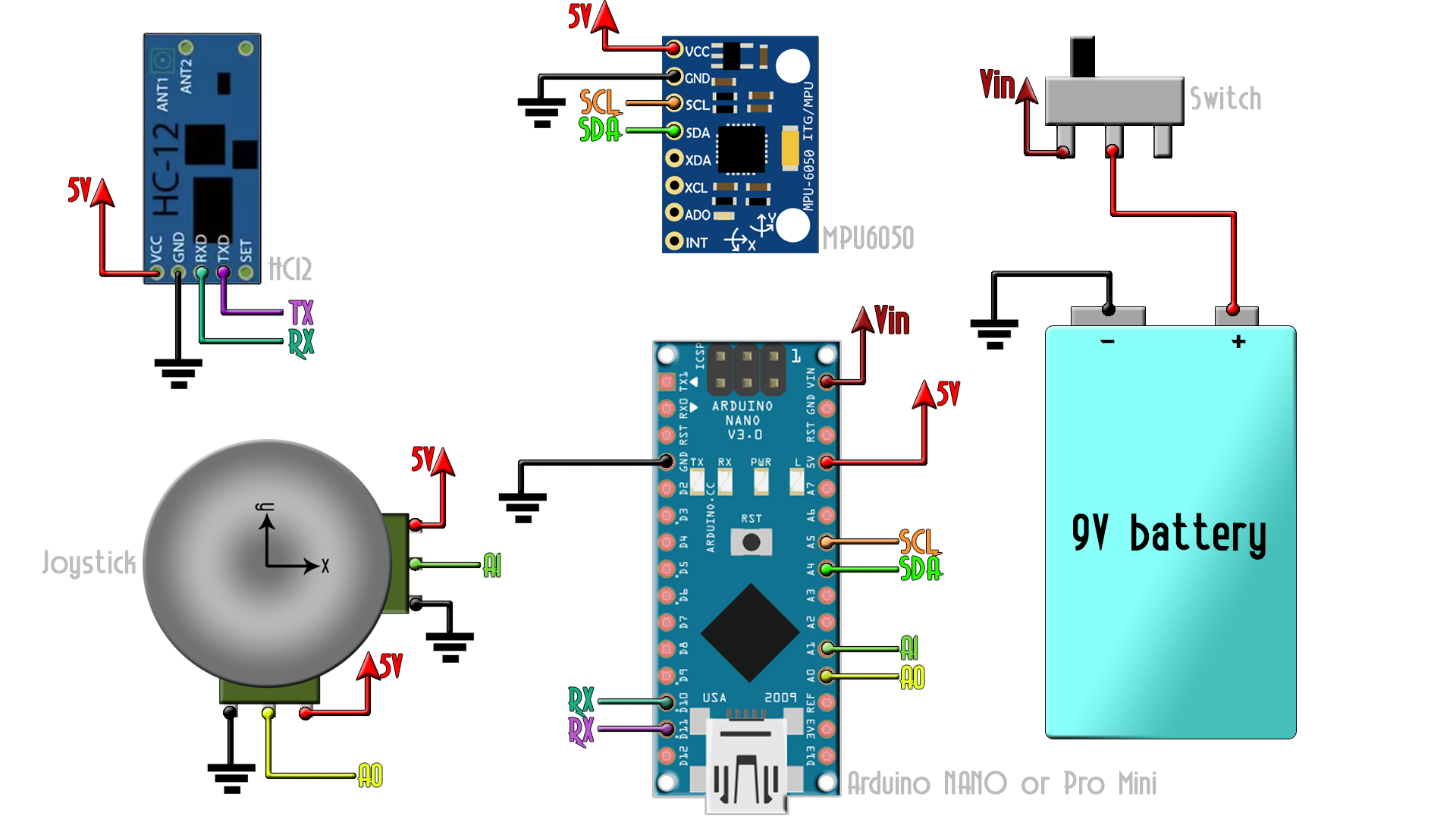 Mpu6050 Gyro Radio Controller Arduino Simple 9v Fm Transmitter Circuit Diagram Schematic