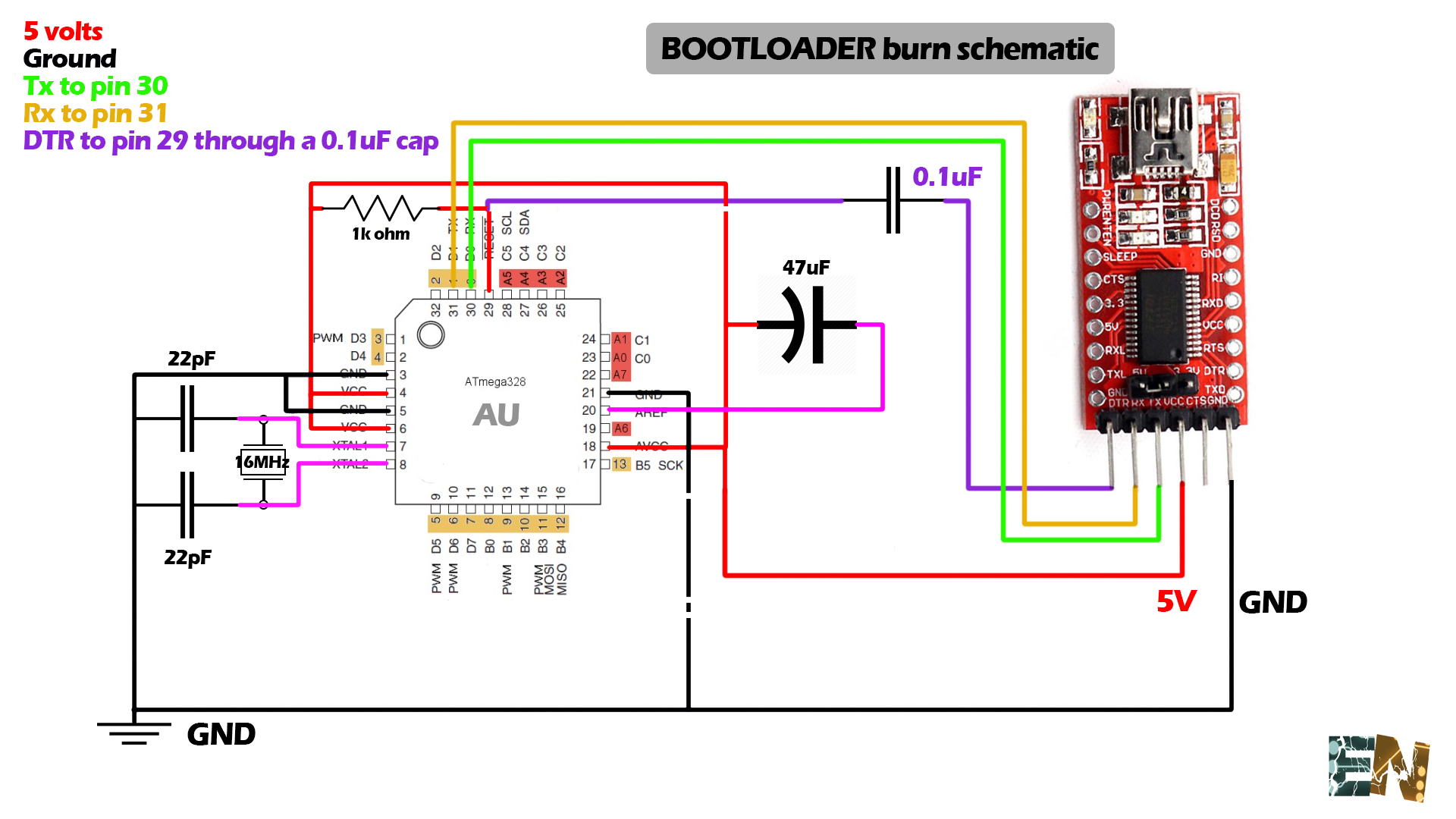 Burn bootloader atmega328p au on smd chip remember that we need a 01uf capacitor between the dtr pin of the ftdi module and our reset pin in order to program this chip ccuart Image collections