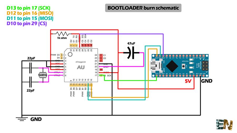 Burn Bootloader ATmega328p AU on SMD chip