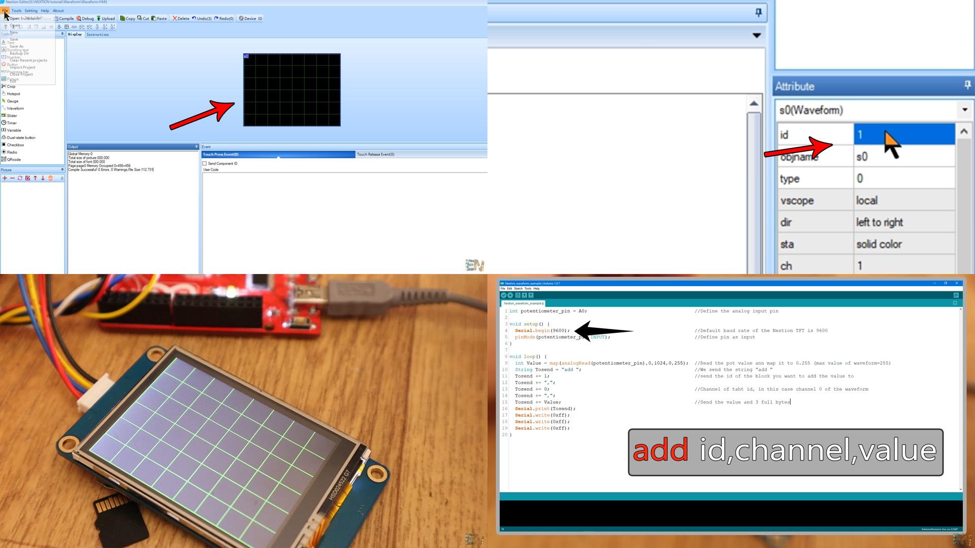 Nextion TFT Arduino wave scope analog