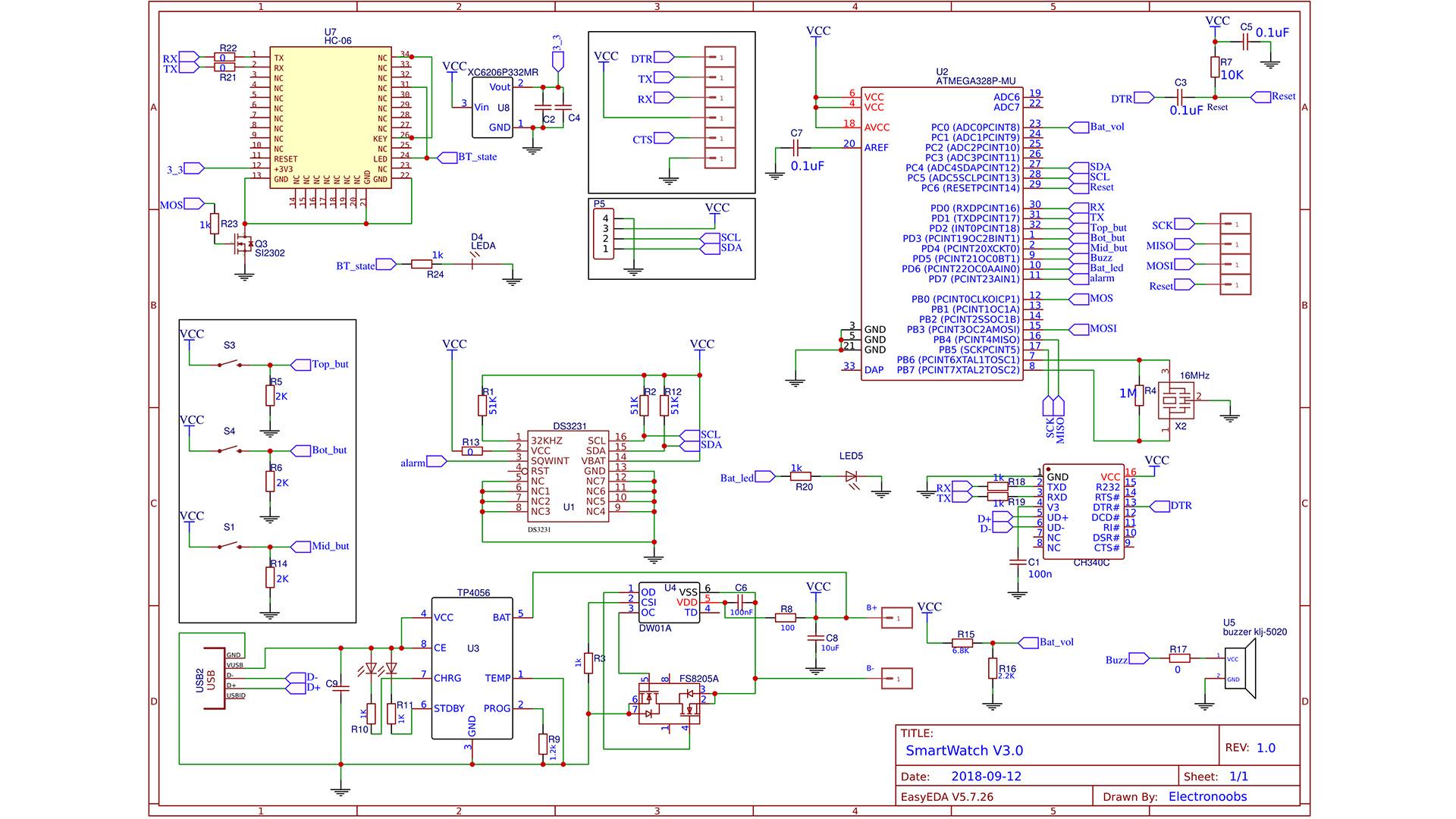 Arduino based OLED watch homemade alarm RTC DIY Bluetooth on