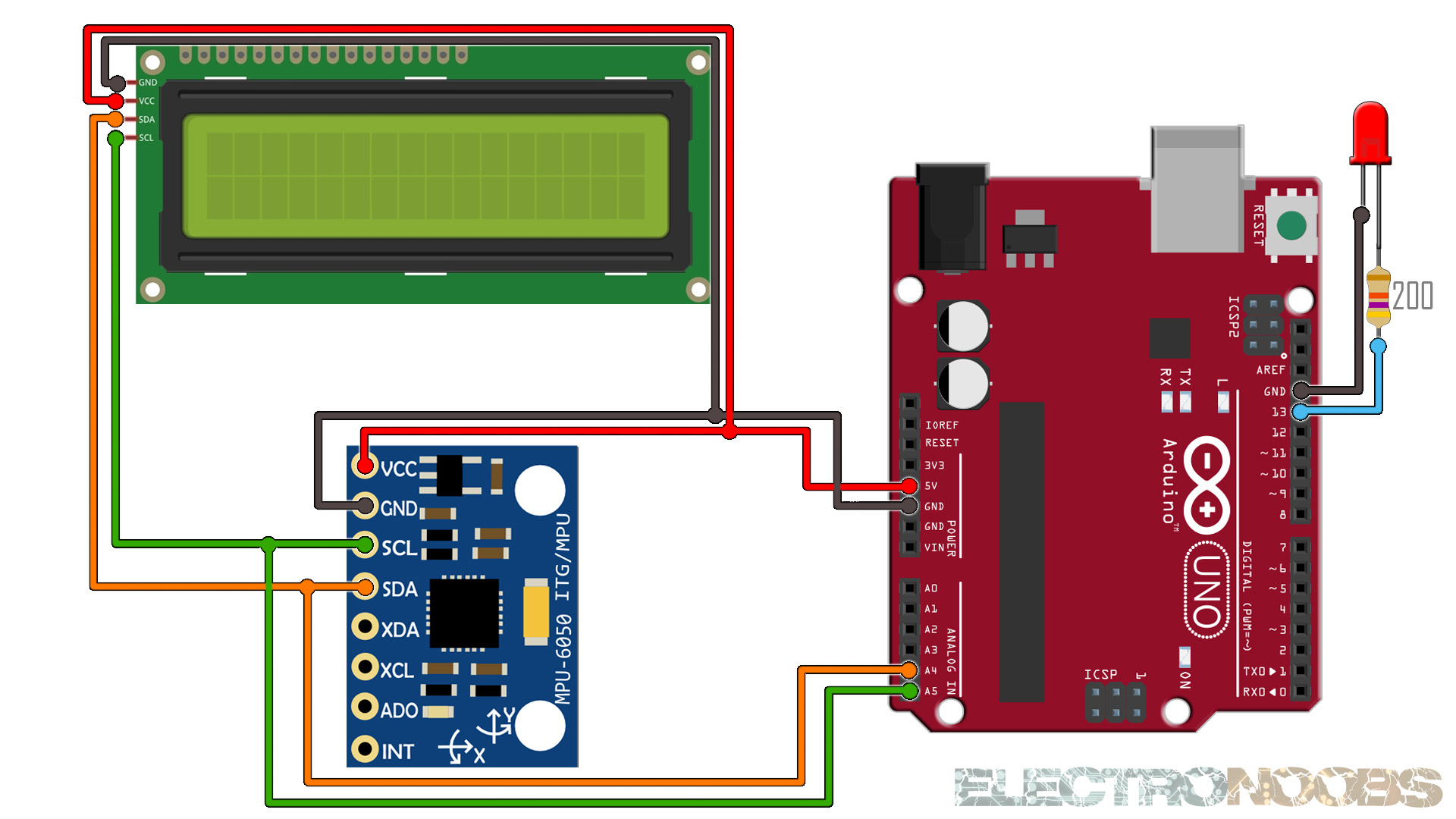Arduino MPU6050 connection schematic