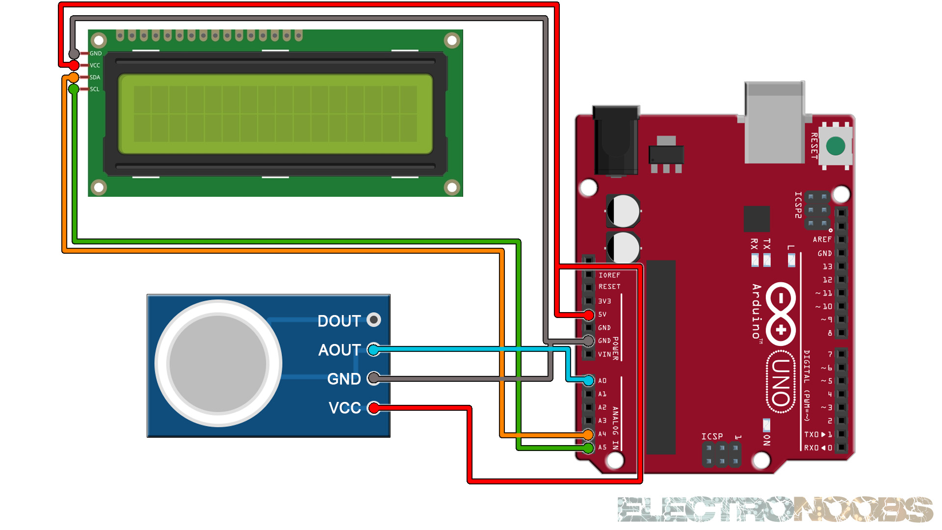 Arduino gas sensor MQ connection schematic