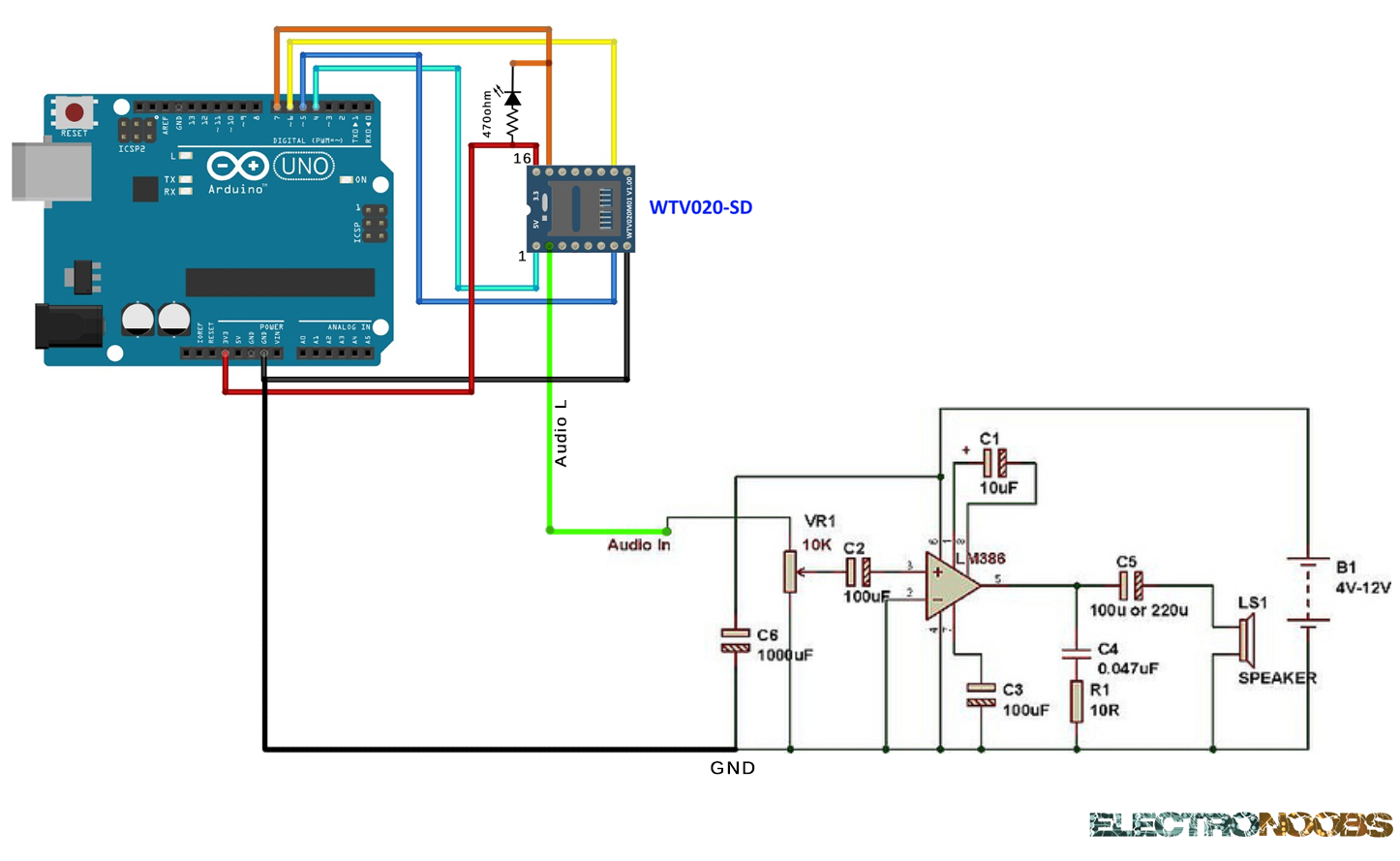 Sound Amplifier For Wtv020 Sd Module Circuit 9