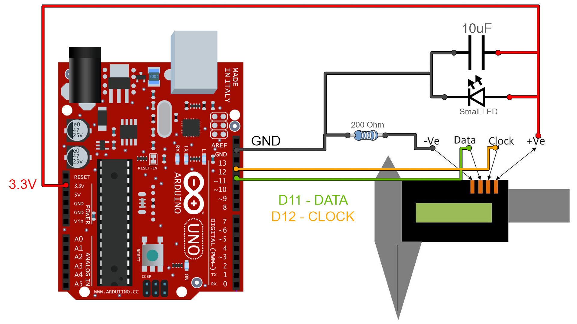 3D filament meter caliper Arduino i2c tutorial