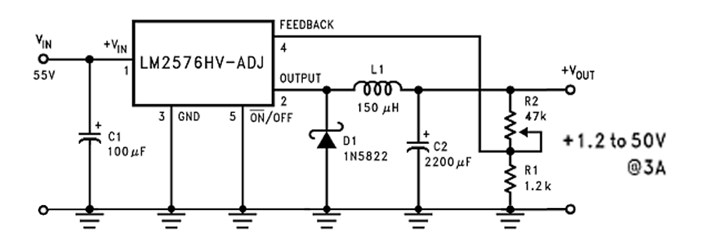 the input could be in range of 5 to 55 volts  don't apply higher voltage or  you could burn lm2576t-adj component  in this case we need no external  switch