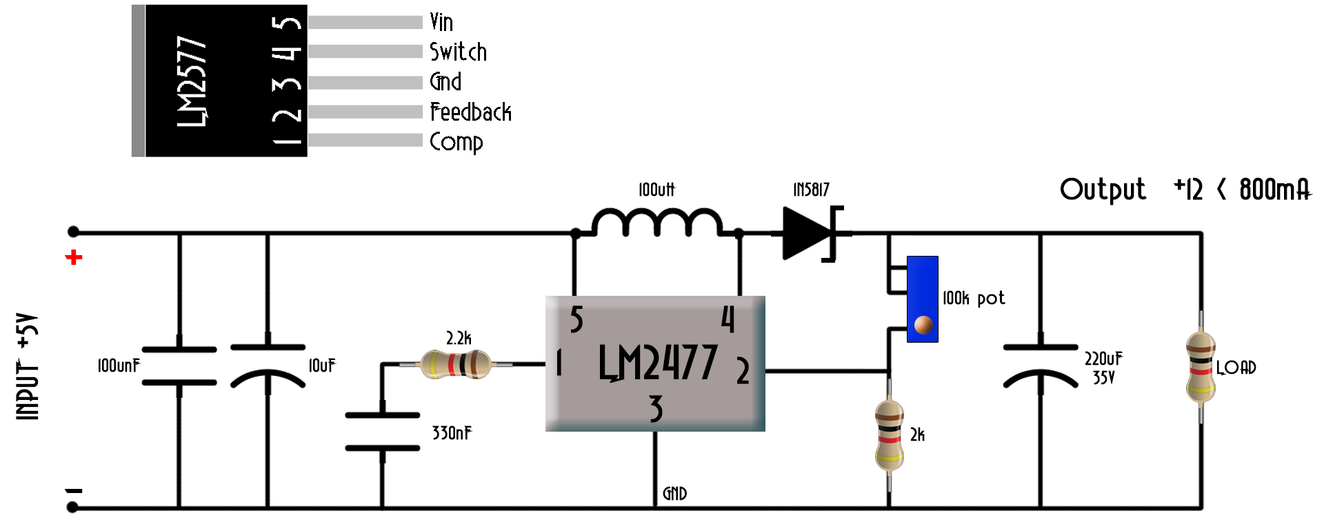Dc To Boost Converter Circuit Homemade Application Circuits Explained In Simple Words Dont Apply Higher Voltage Or You Could Burn Lm2577 Adj Component This Case We Need No External Switch Since The Already Has It Inside