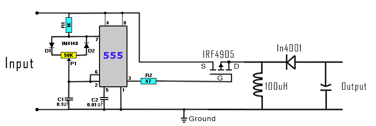 DC to DC buck-boost converter circuit homemade