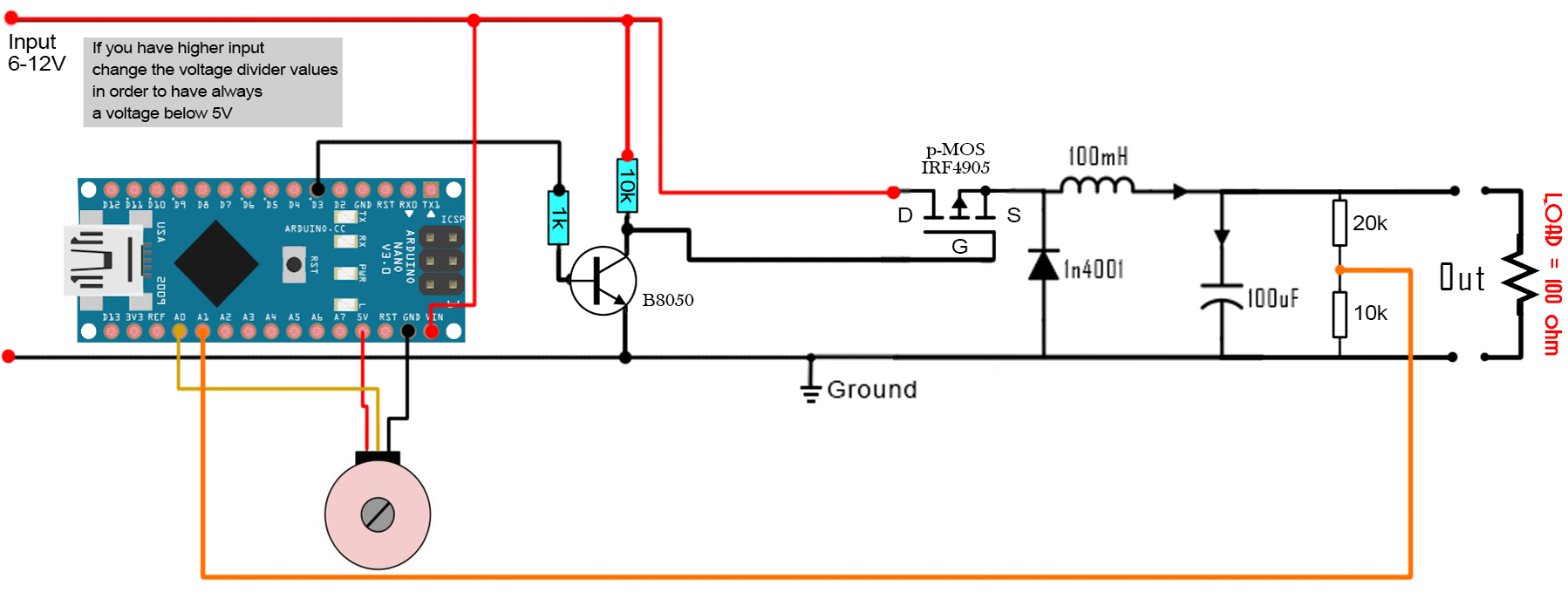 DC to DC buck converter circuit homemade arduino