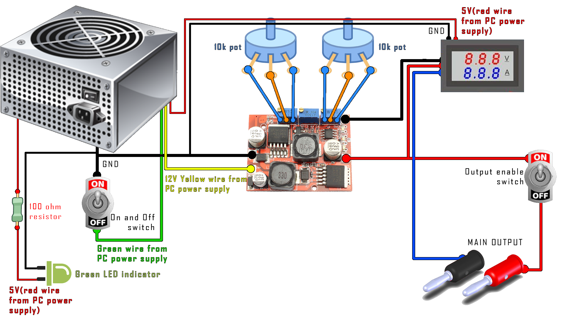 diy PC bench power supply schematic