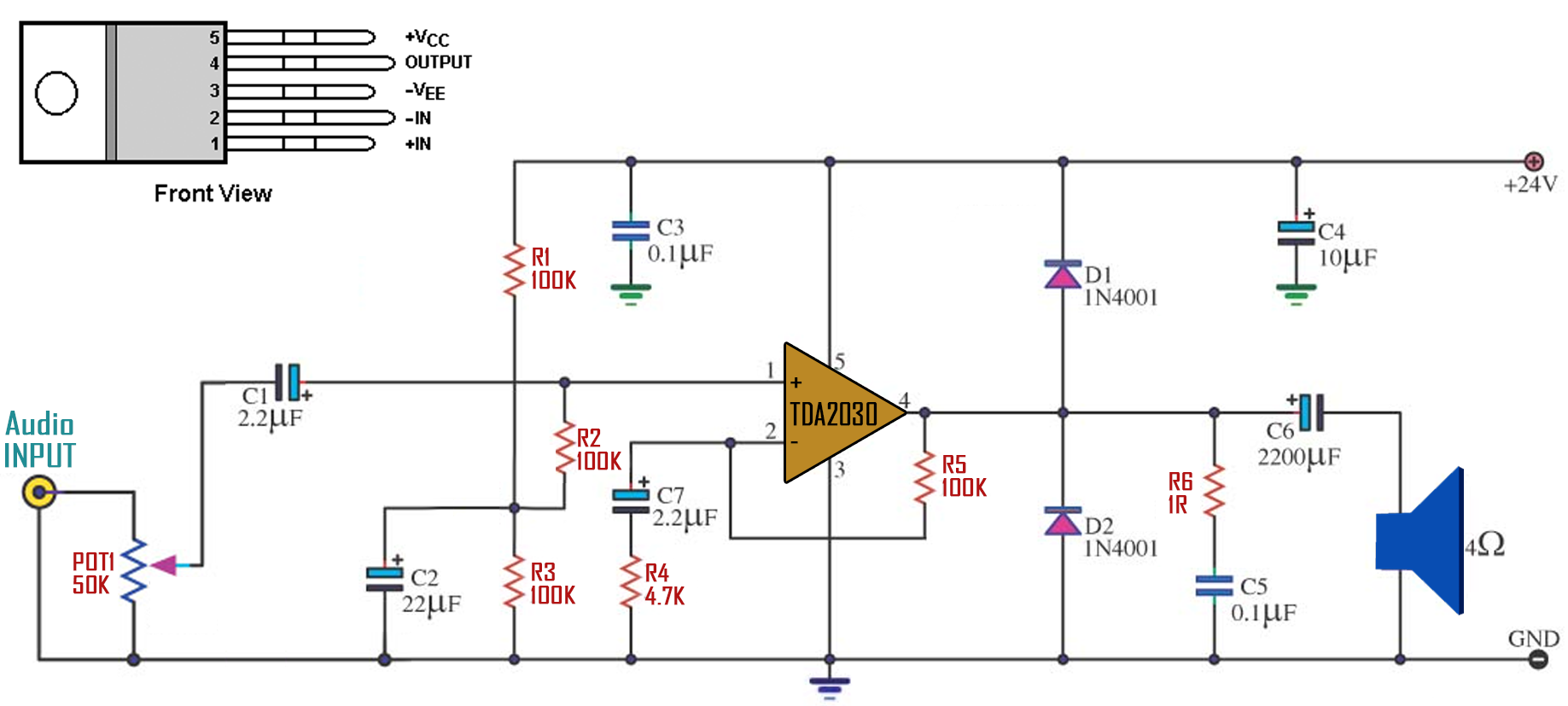 tda2030 circuit amplifier homemade