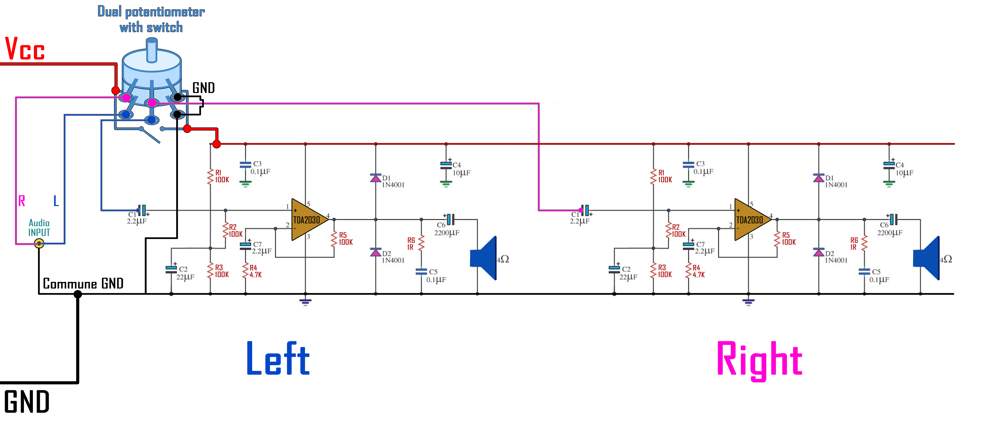 TDA2030A schematic homemade speaker