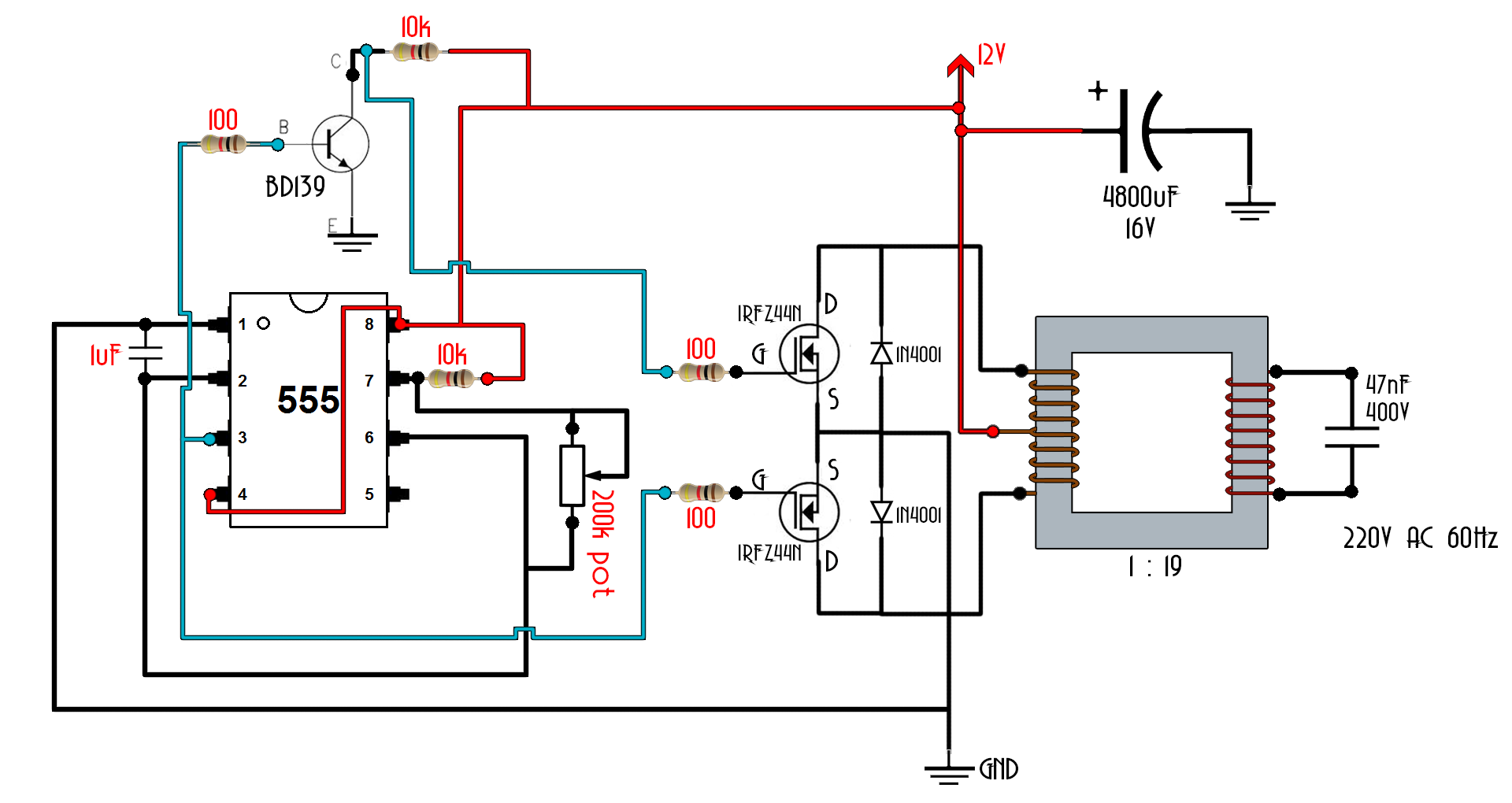 555 schematic inverter circuit