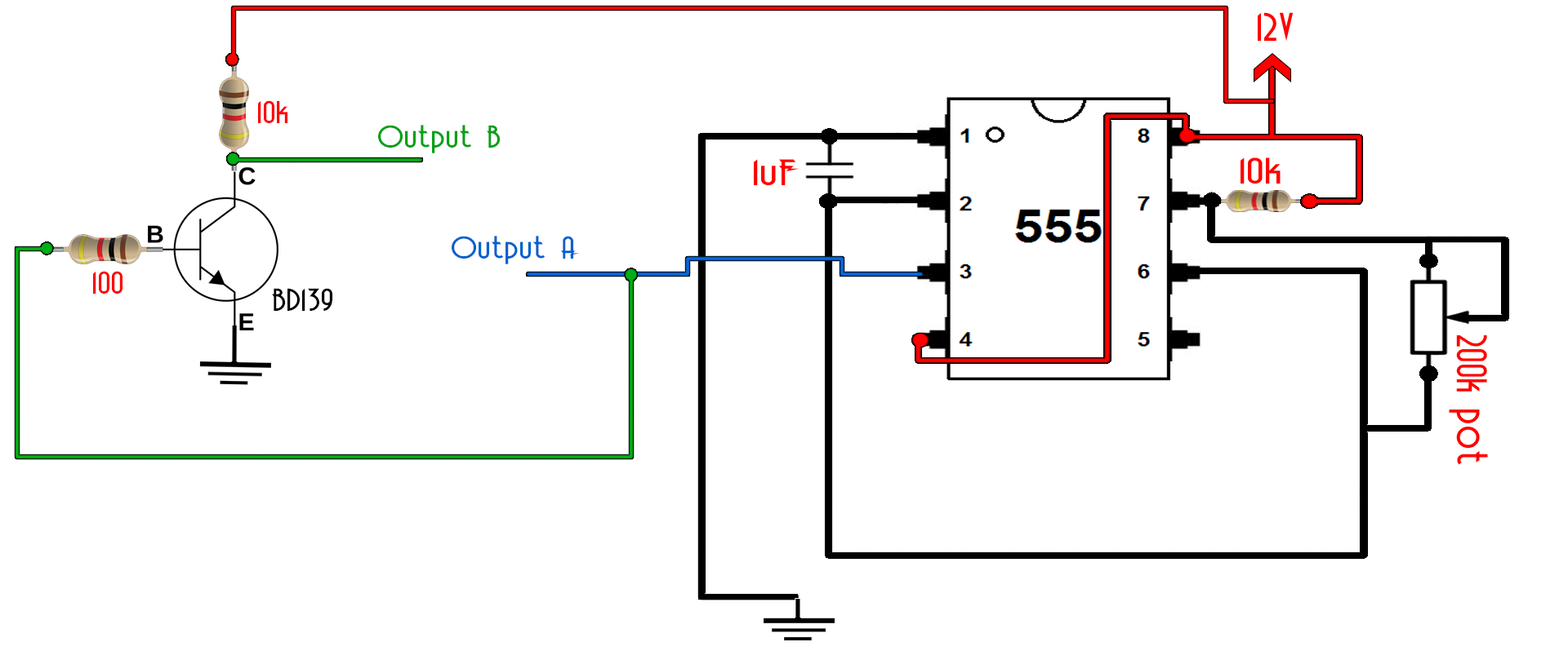 555 Timer Potentiometer Diy Inverter Circuit