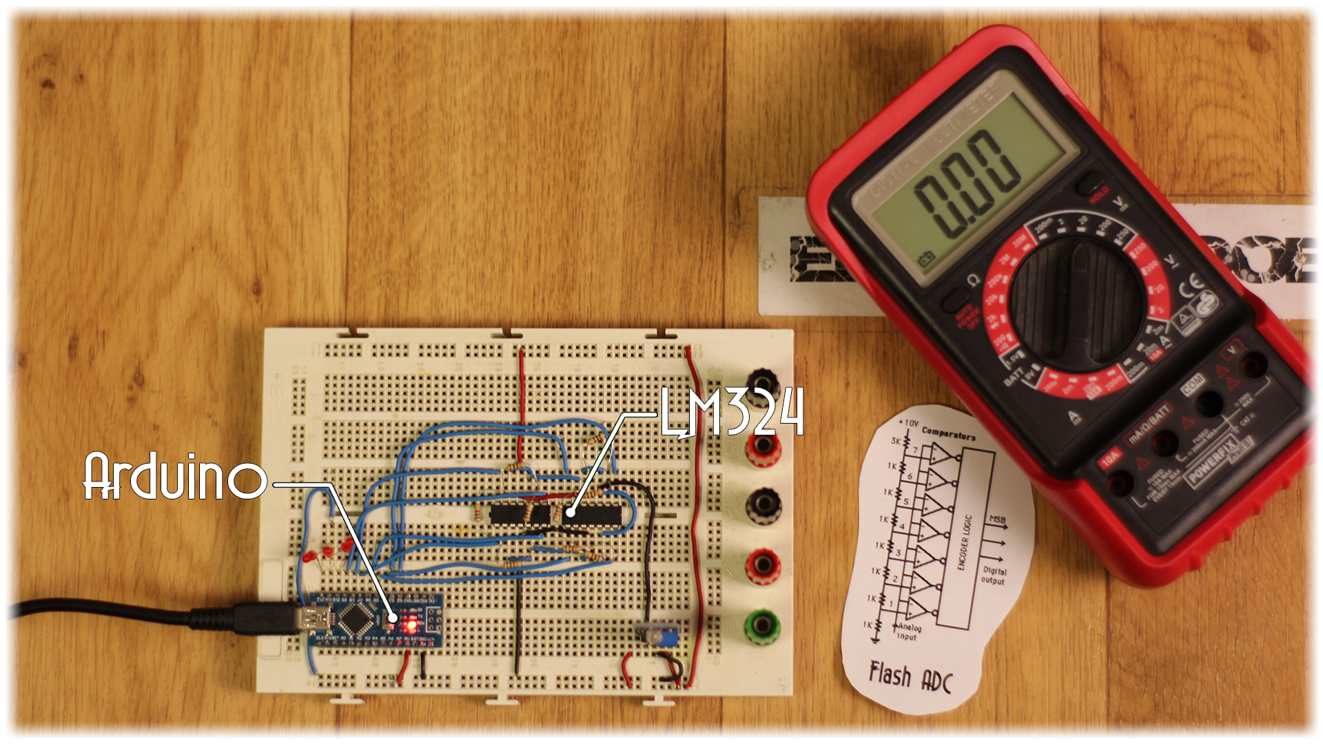 Diy 3bit Flash Adc Comparator Circuits Examples Tutorial