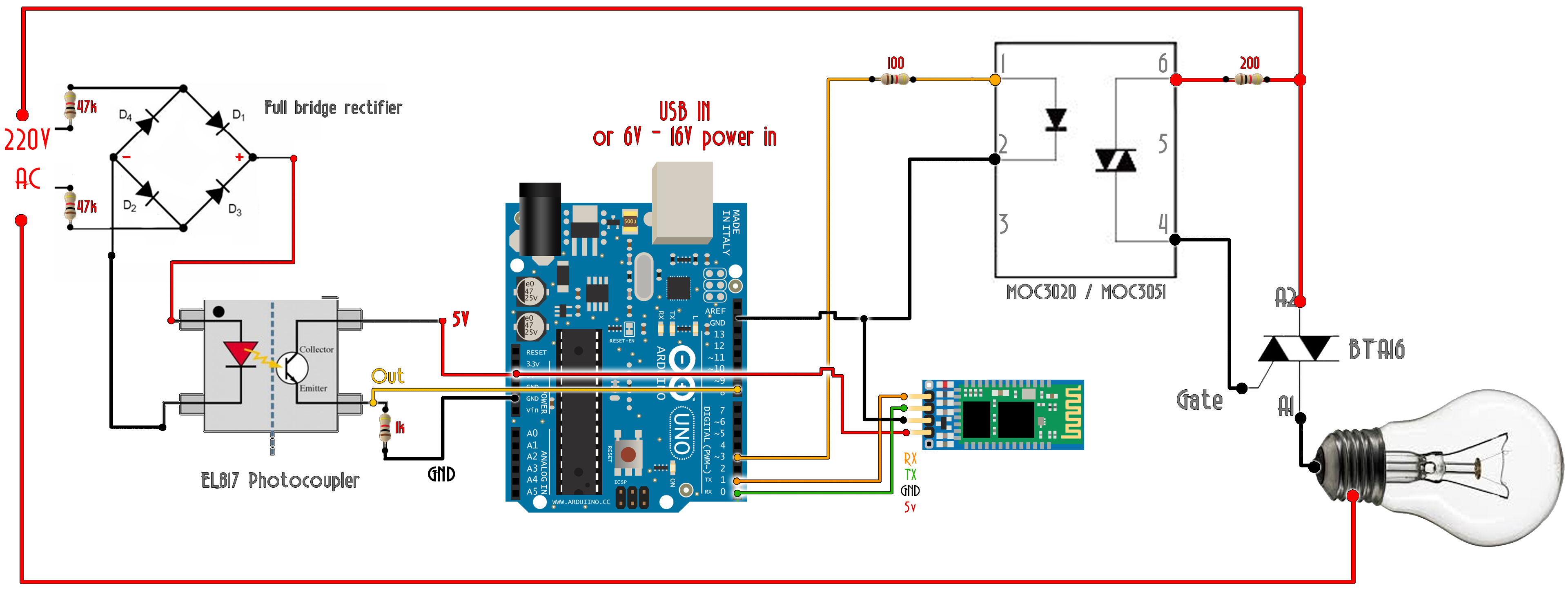 Arduino bluetooth triac ac dimmer