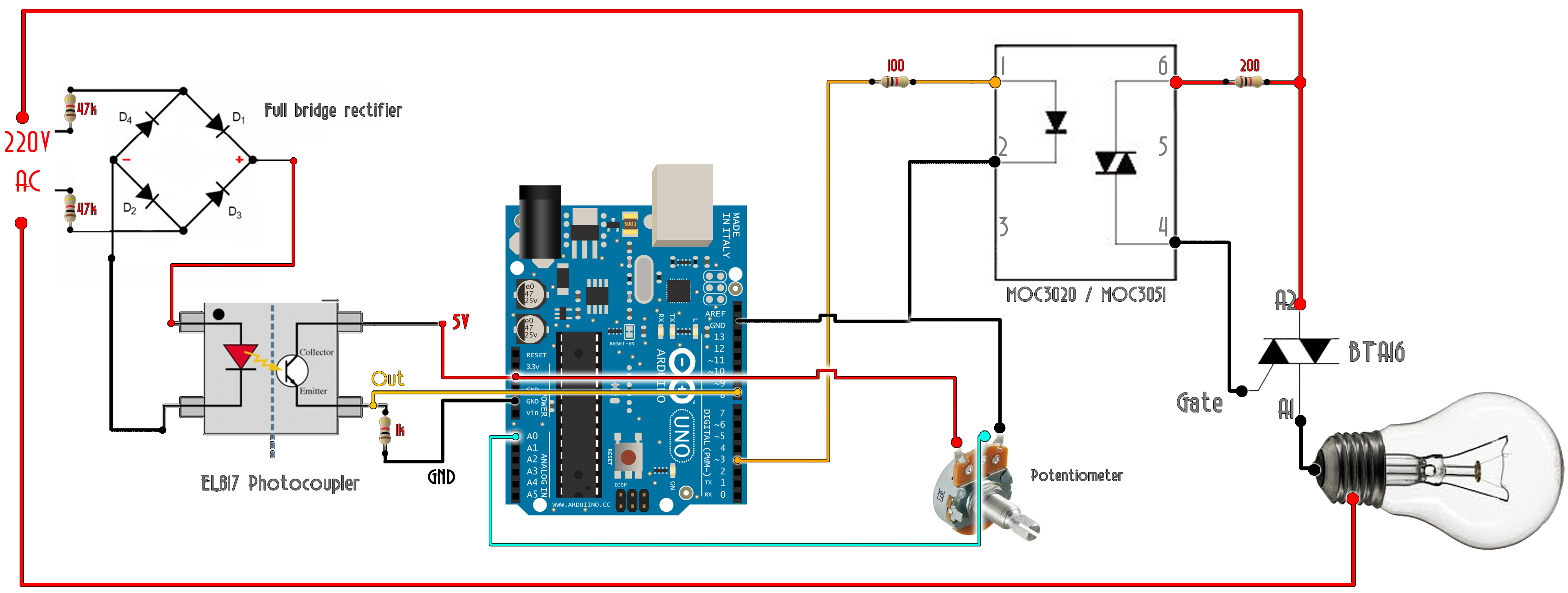 AC TRIAC dimmer Arduino schematic