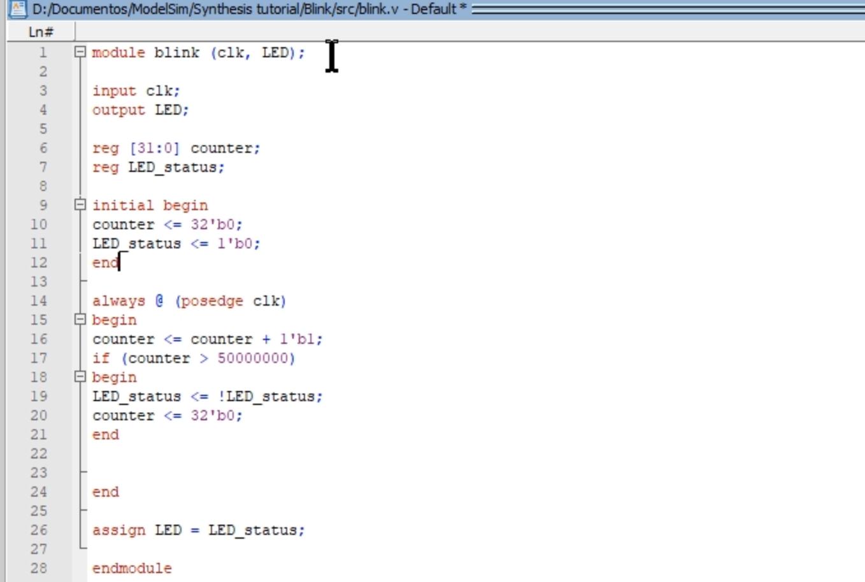 Verilog example FPGA blink