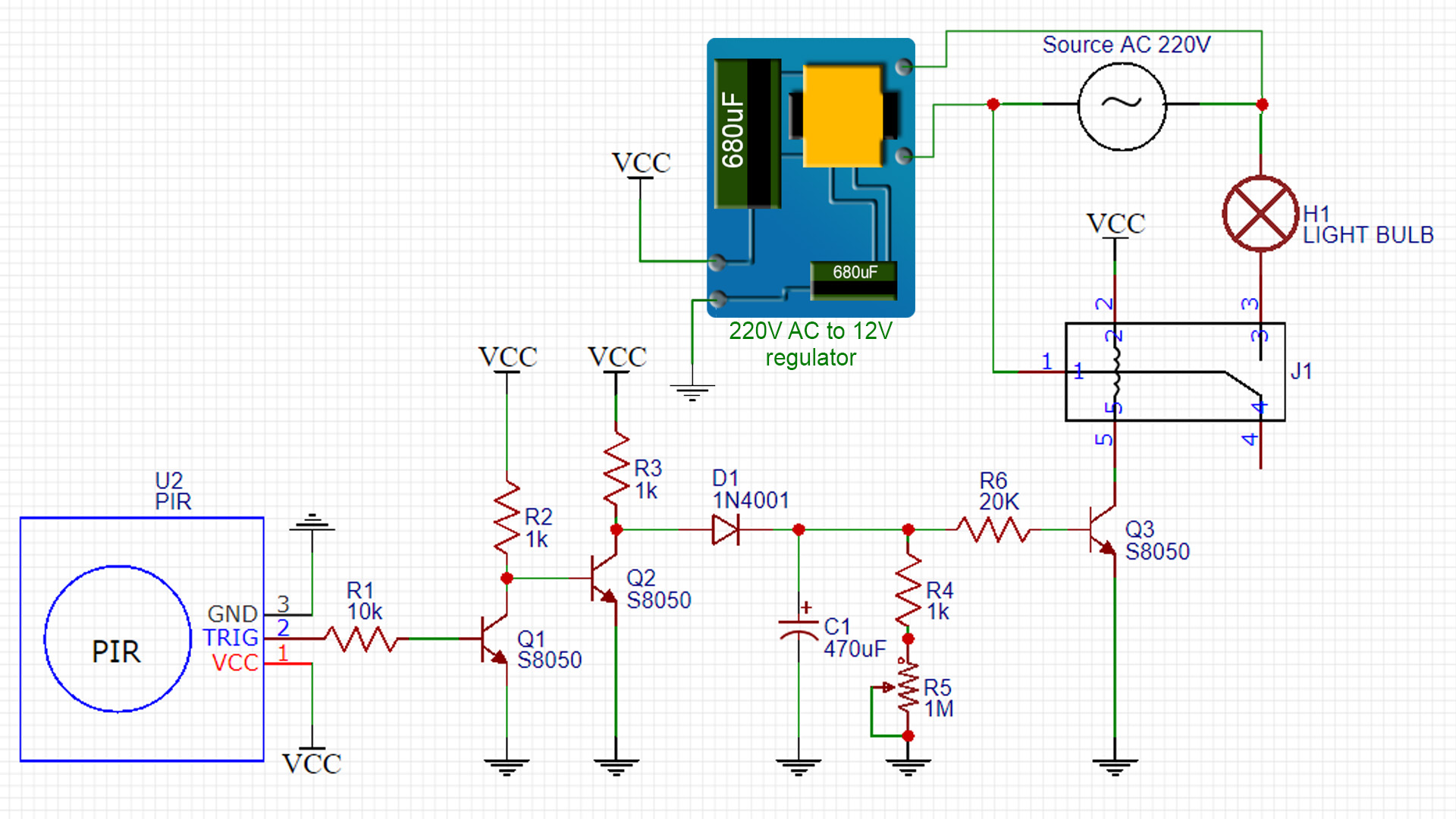 PIR switch 220V AC schematic circuit delay