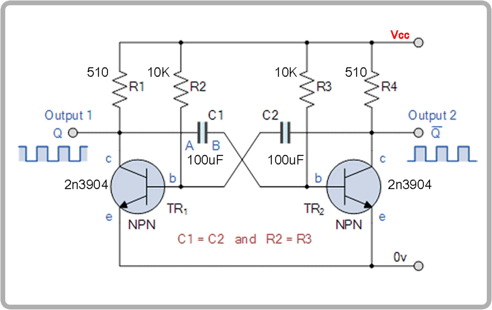 multivibrator RC oscillator scheamtic with values