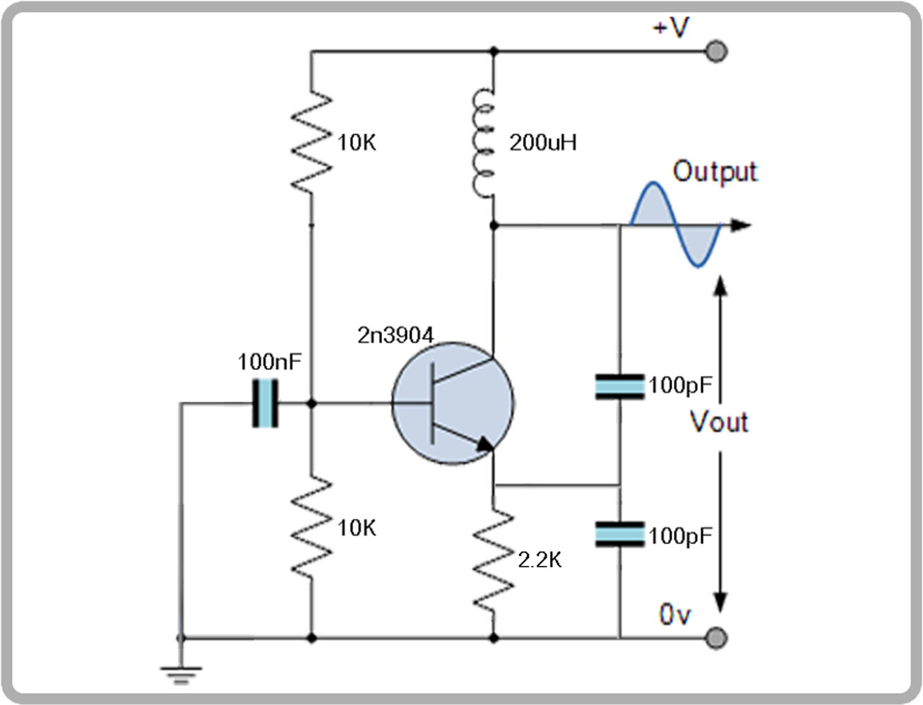 LC oscillator schematic values circuit test