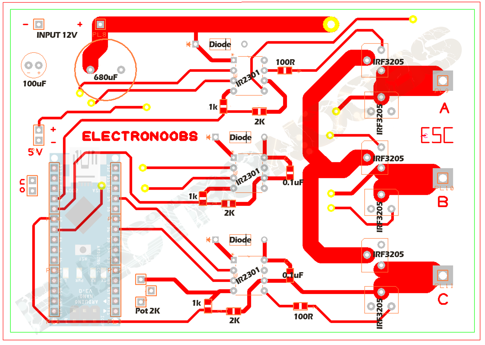 Electronic Speed Controller With Arduino Homemade Control For Pcb Drill Circuits And Diagram Create A Two Layer Distribute All Components In The Next Photo We Have Top Ive Added Values Each