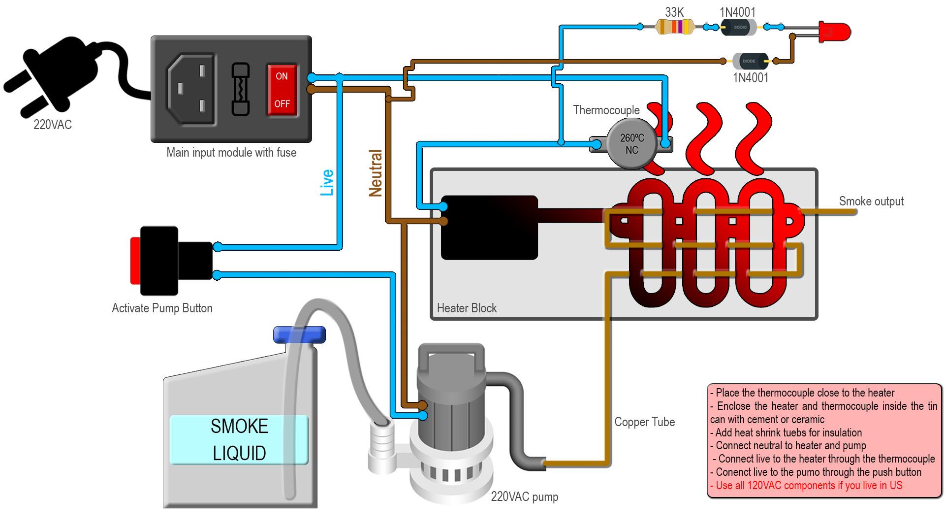 Homemade smoke machine glycerin 220V circuit DIYElectronoobs