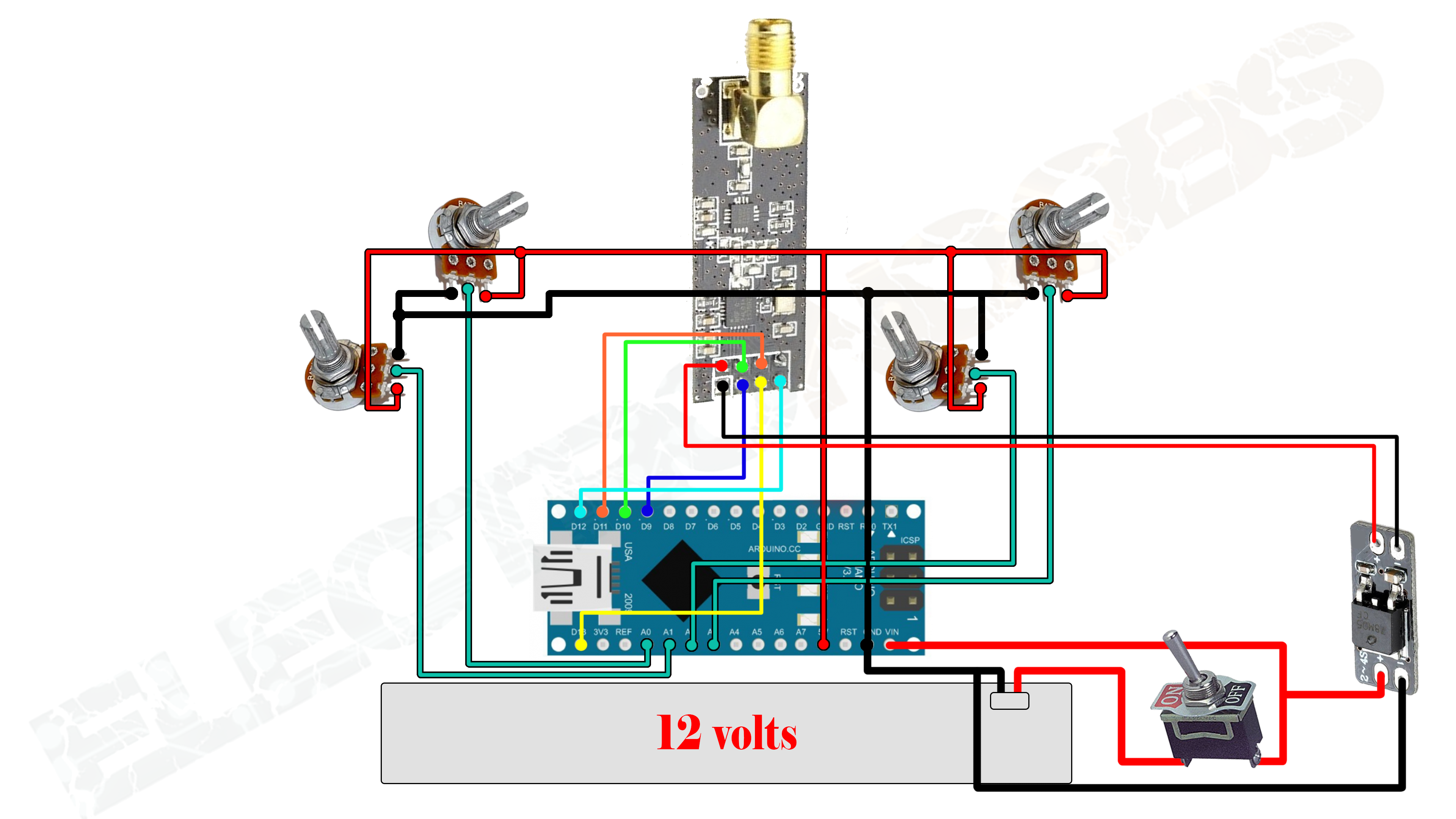 Nrf24 Radio Controller Arduino Transmitter Circuit Diagram Of Zigbee Transceiver Potentiometer For Rc