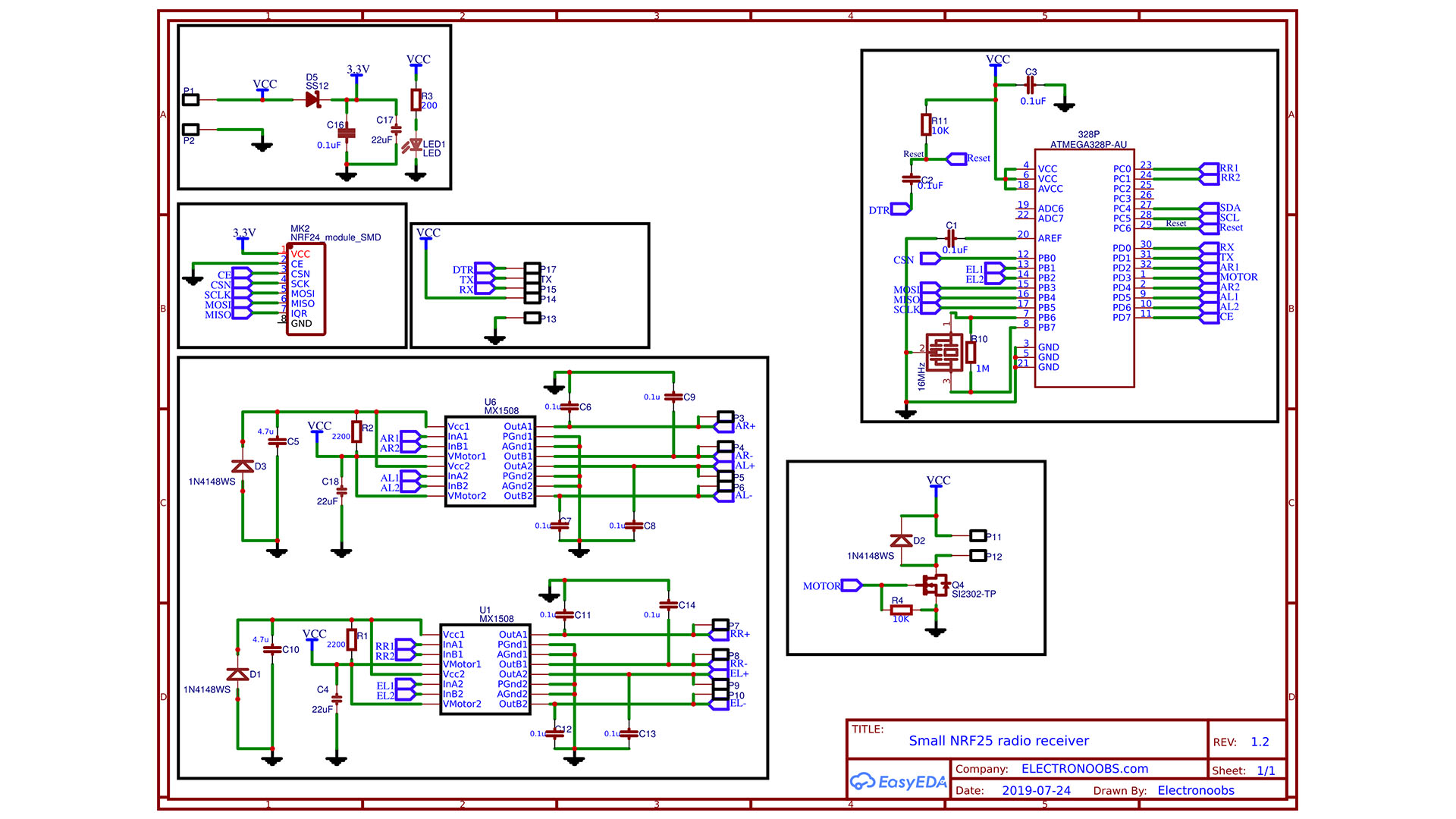 Arduino schematic NRF24 small SMD receiver PCB