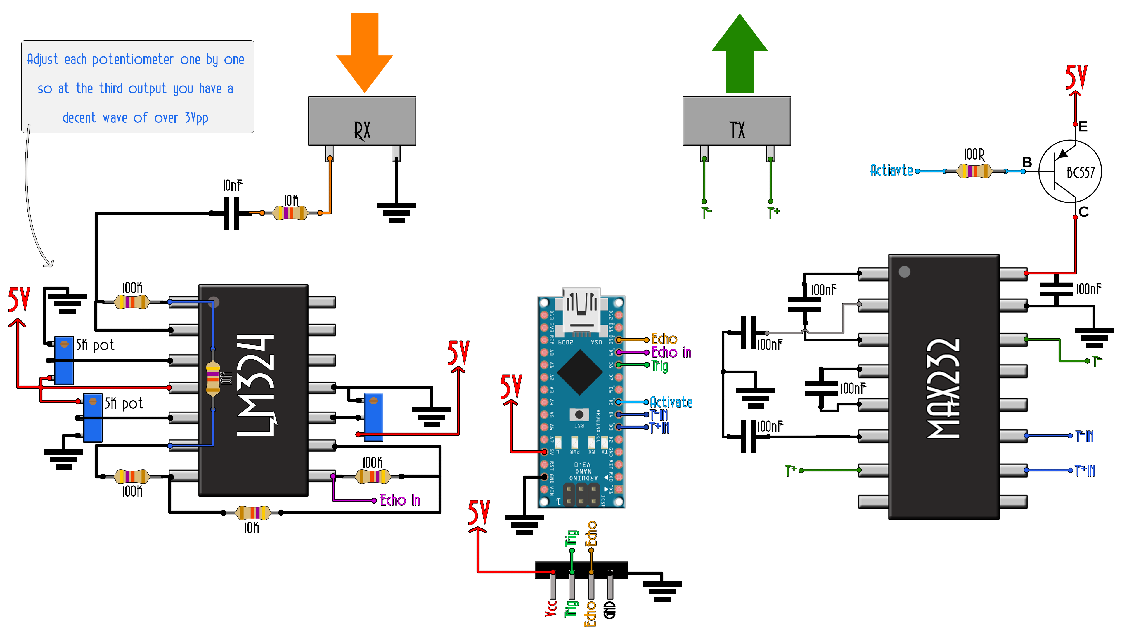 Homemade Ultrasonic Distance Sensor Arduino Transmitter Circuit Diagram Scheamtic