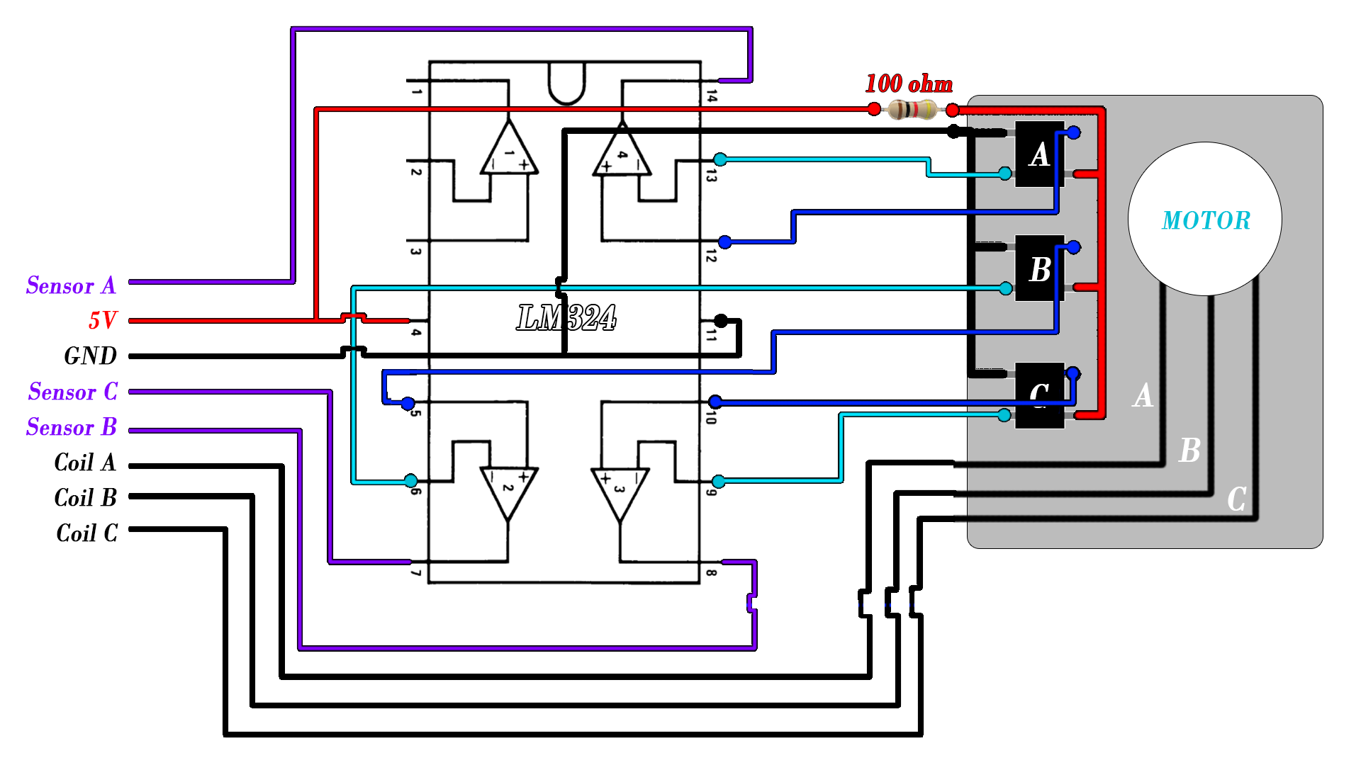 CD brushless schematic hall sensors
