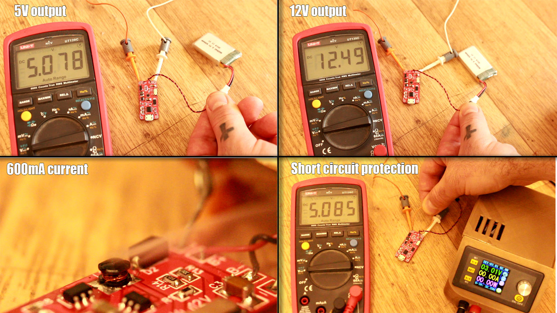 homemade BMS 3.7V battery with boost converter