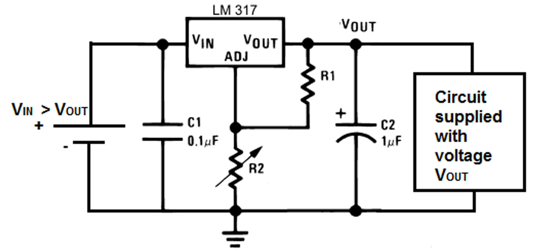 LM317 cirucit schematic calculator